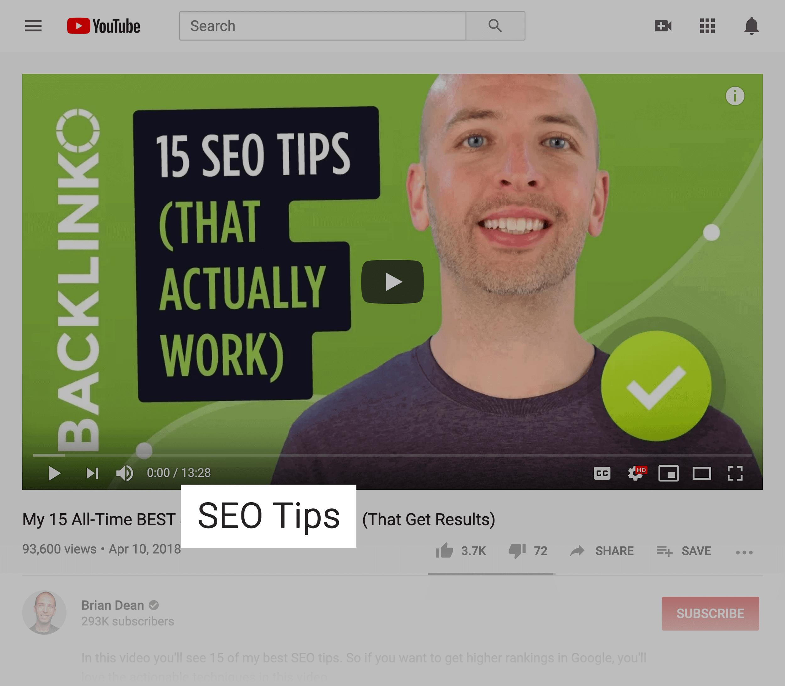 Target keyword in video title