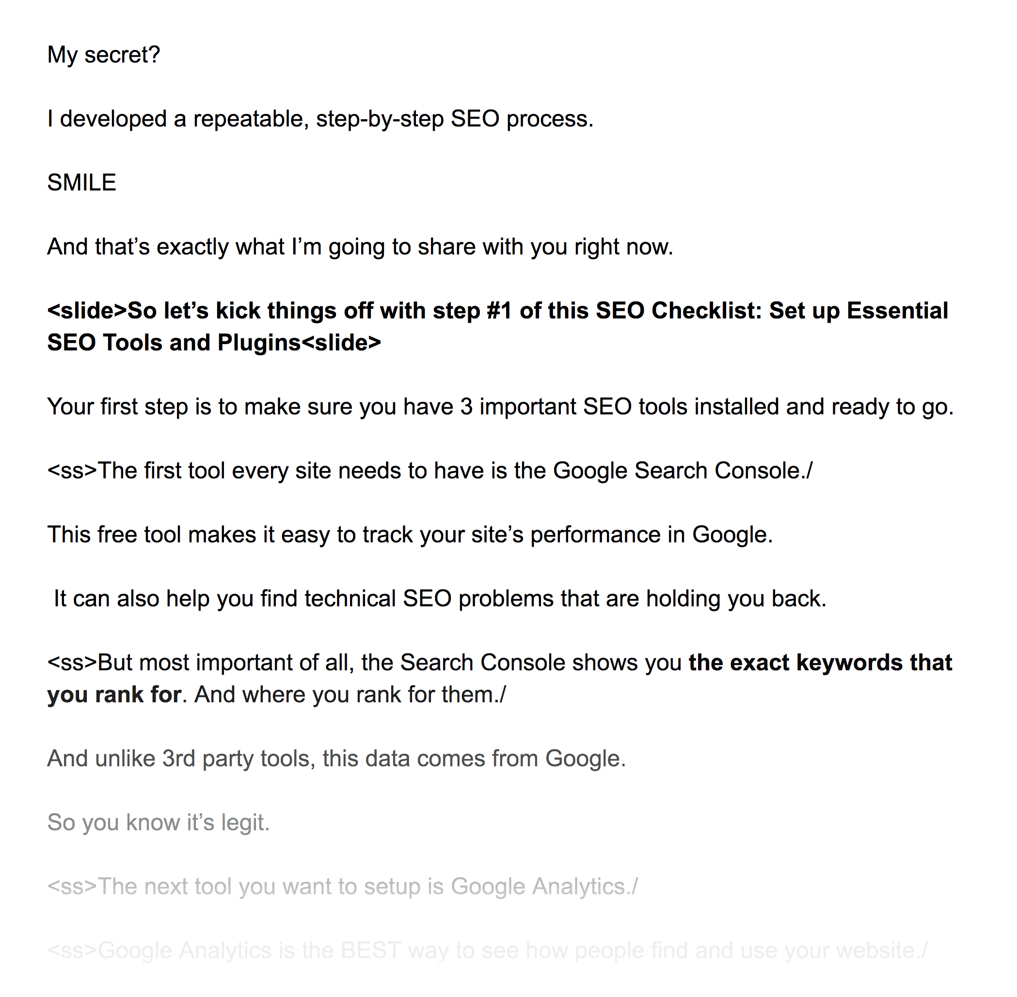 Typed out video script
