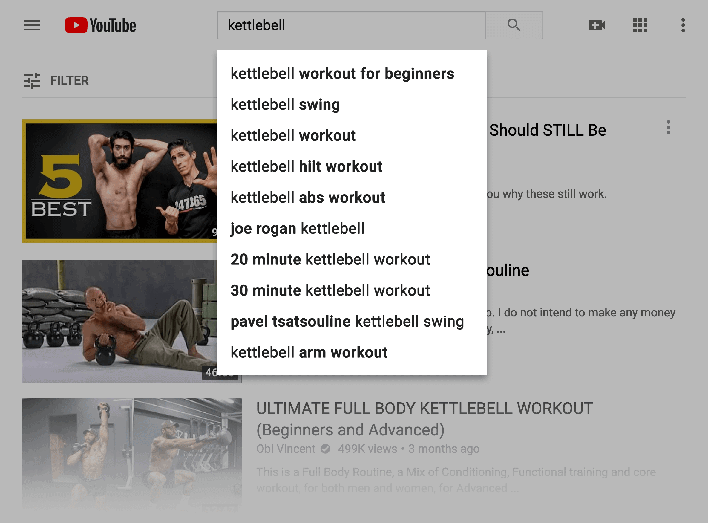 YouTube suggests – Long keywords