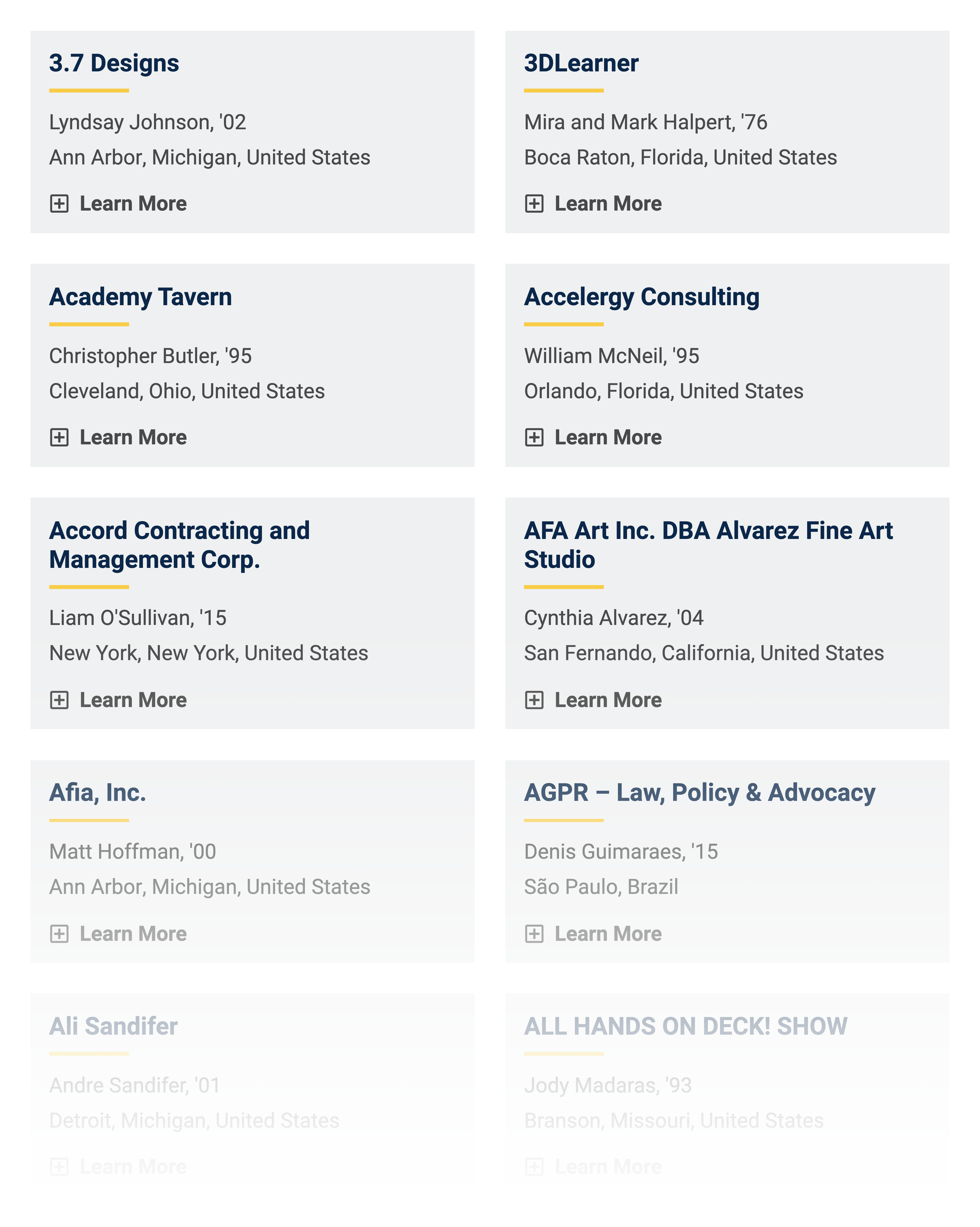 Businesses owned by Michigan alumni