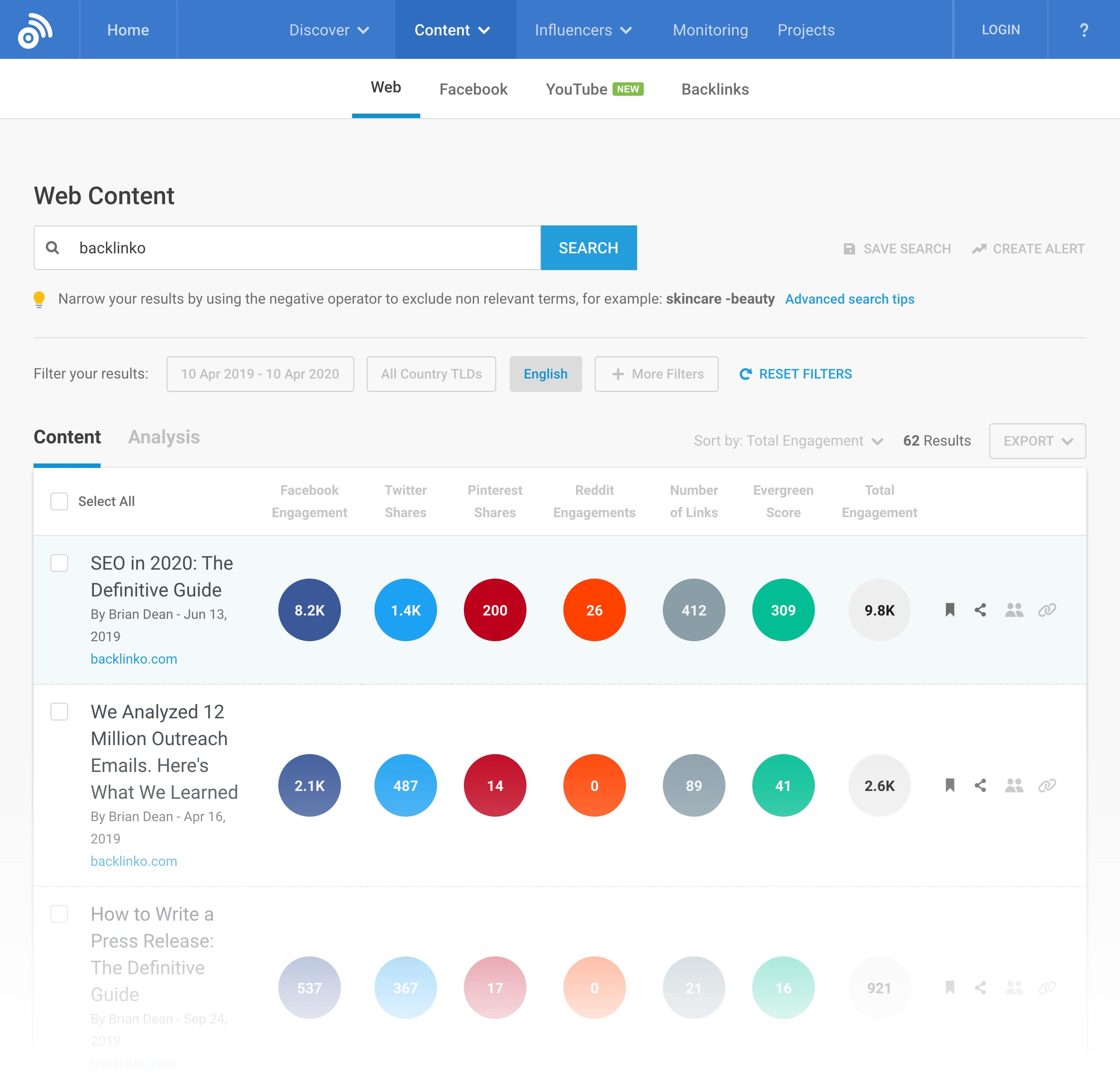 BuzzSumo – Content Search Backlinko