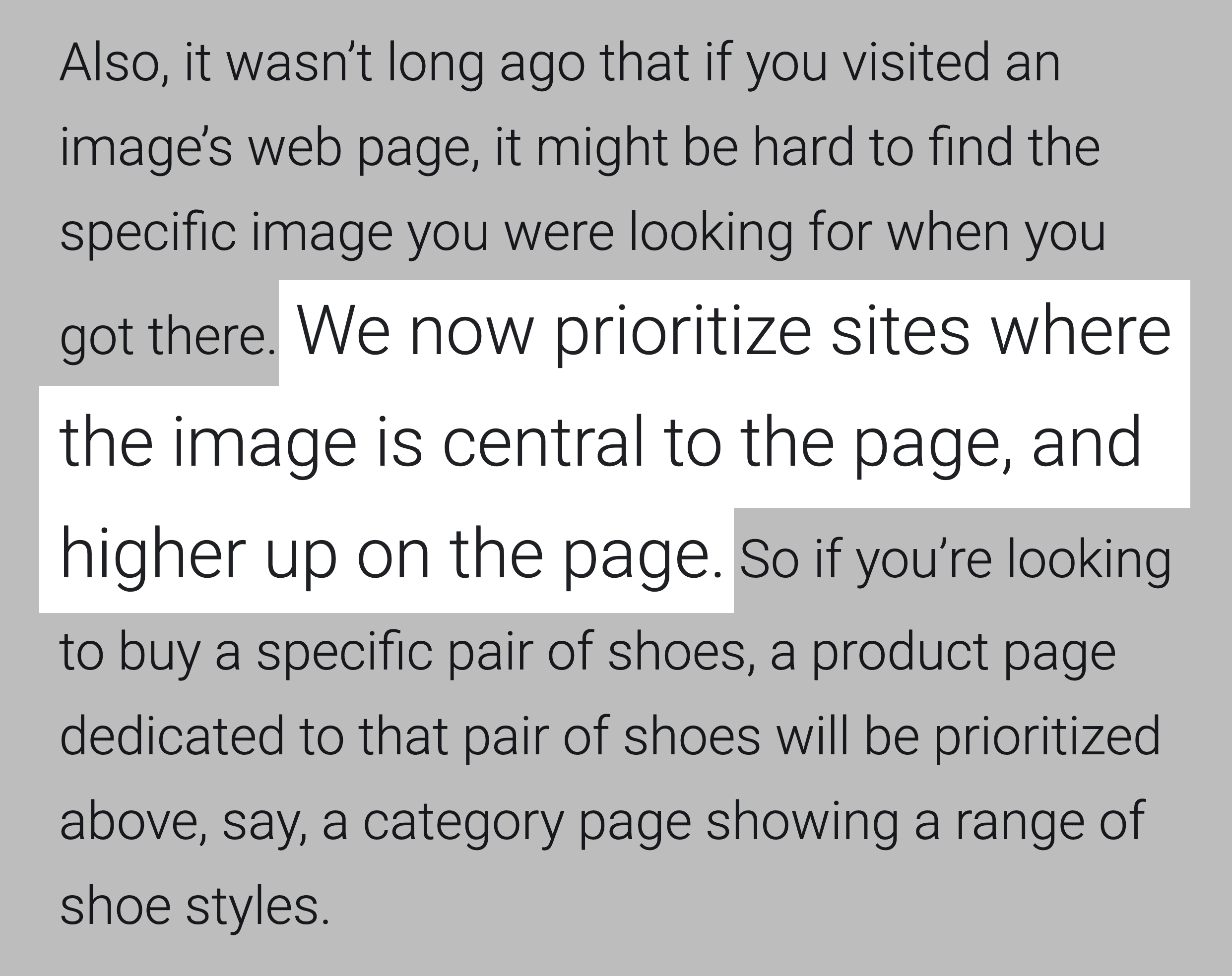 Google Algorithm Prioritizes Images High On Page