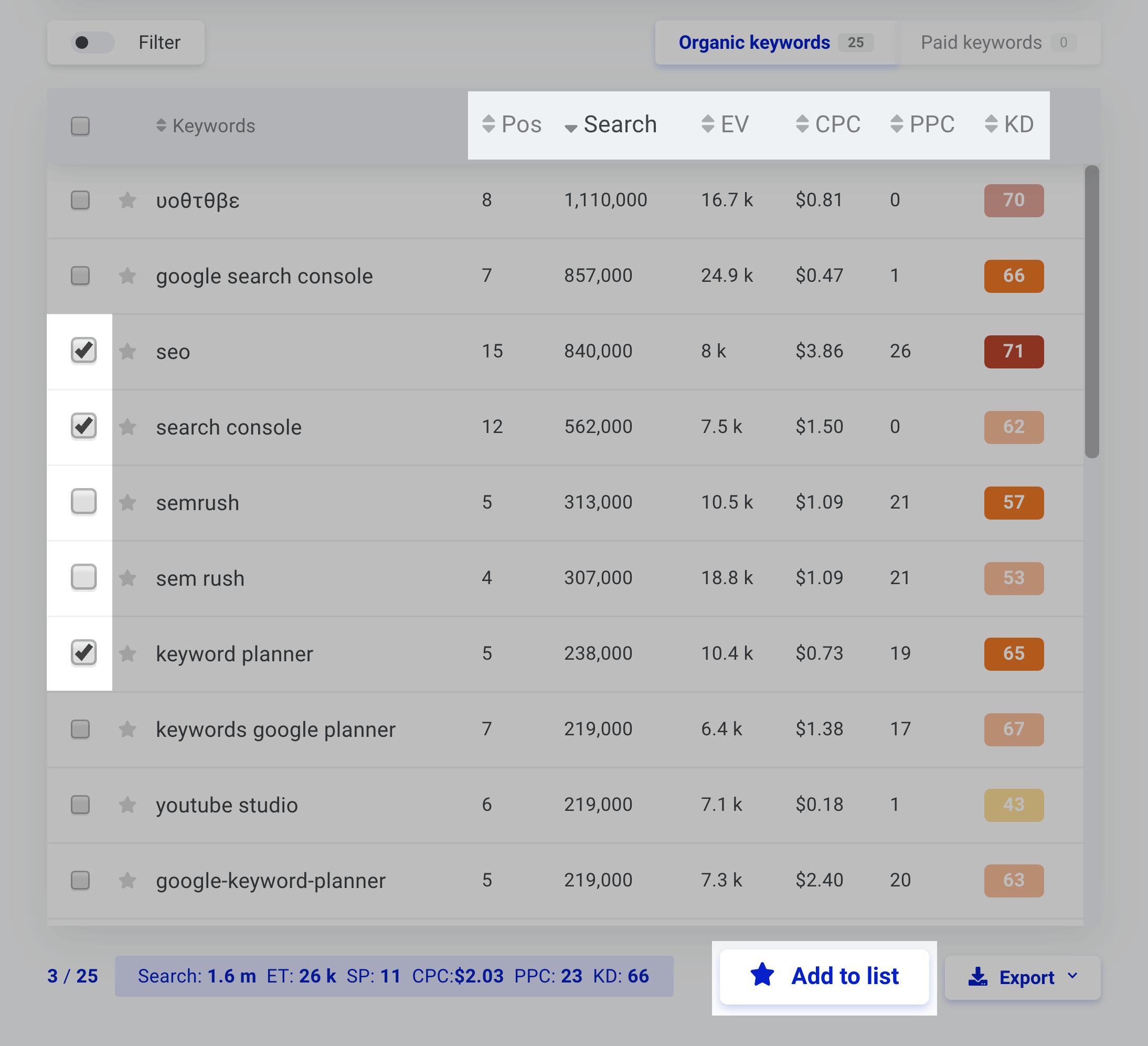 Kwfinder User Interface