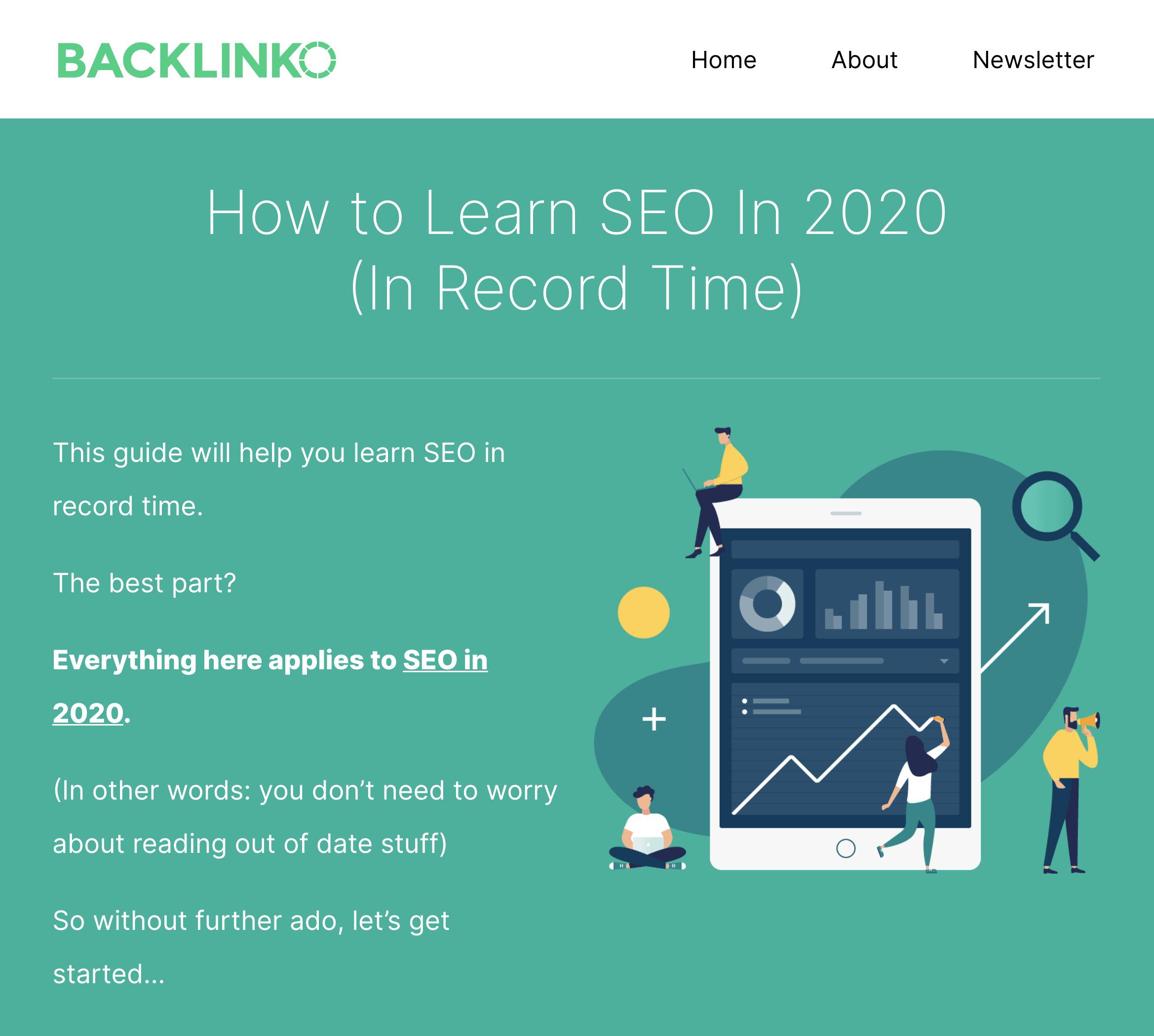 Learn SEO Fast post at Backlinko