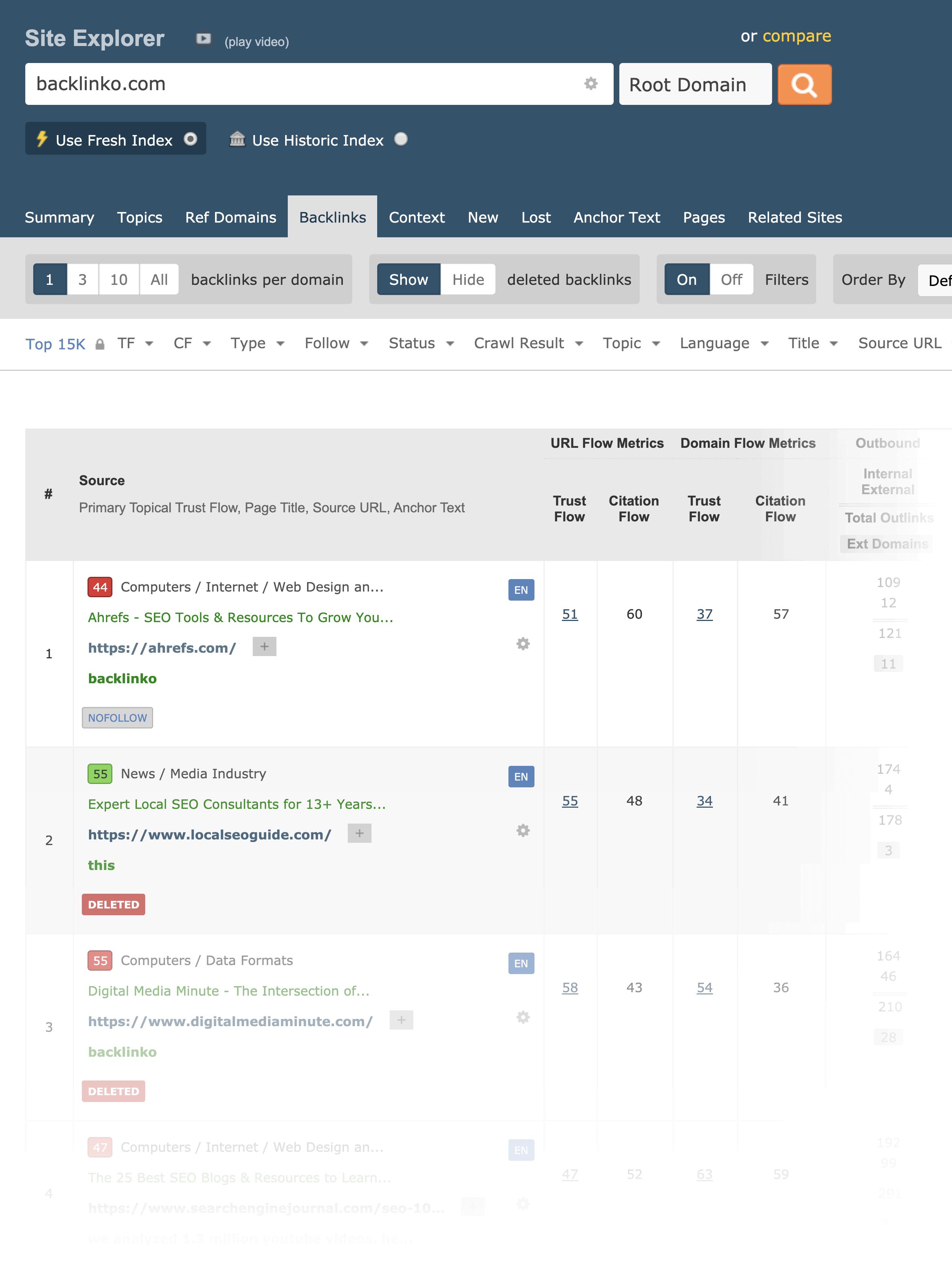 Majestic Backlink Search Interface