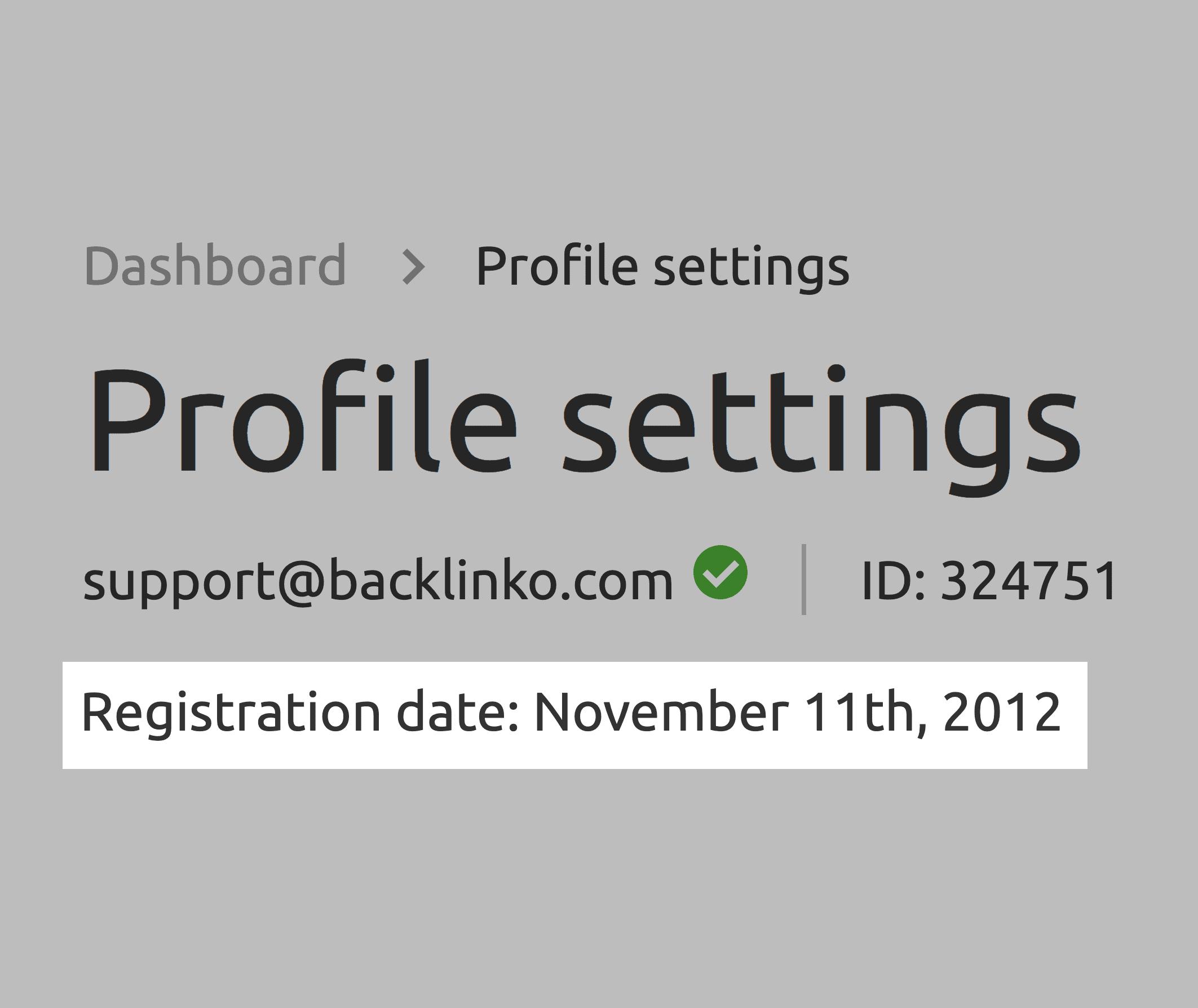 SEMrush –Profile Registration Date