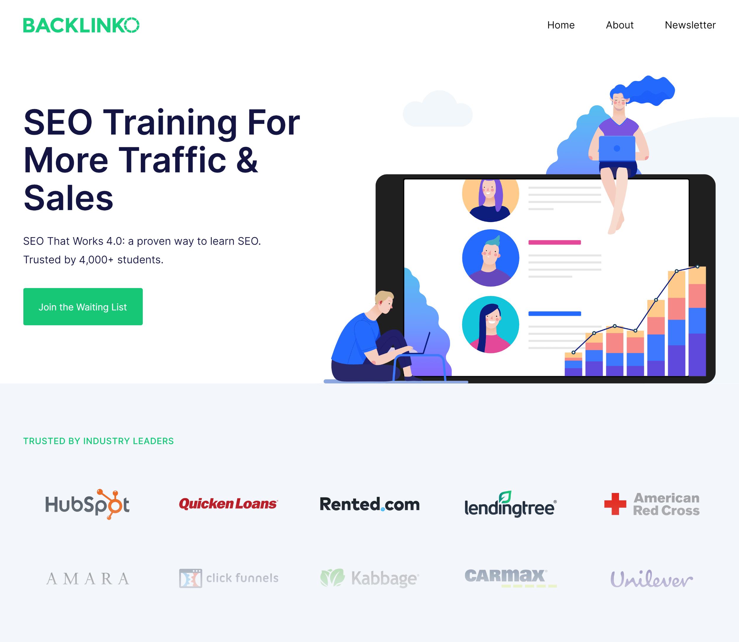 Backlinko – SEO Training Landing Page