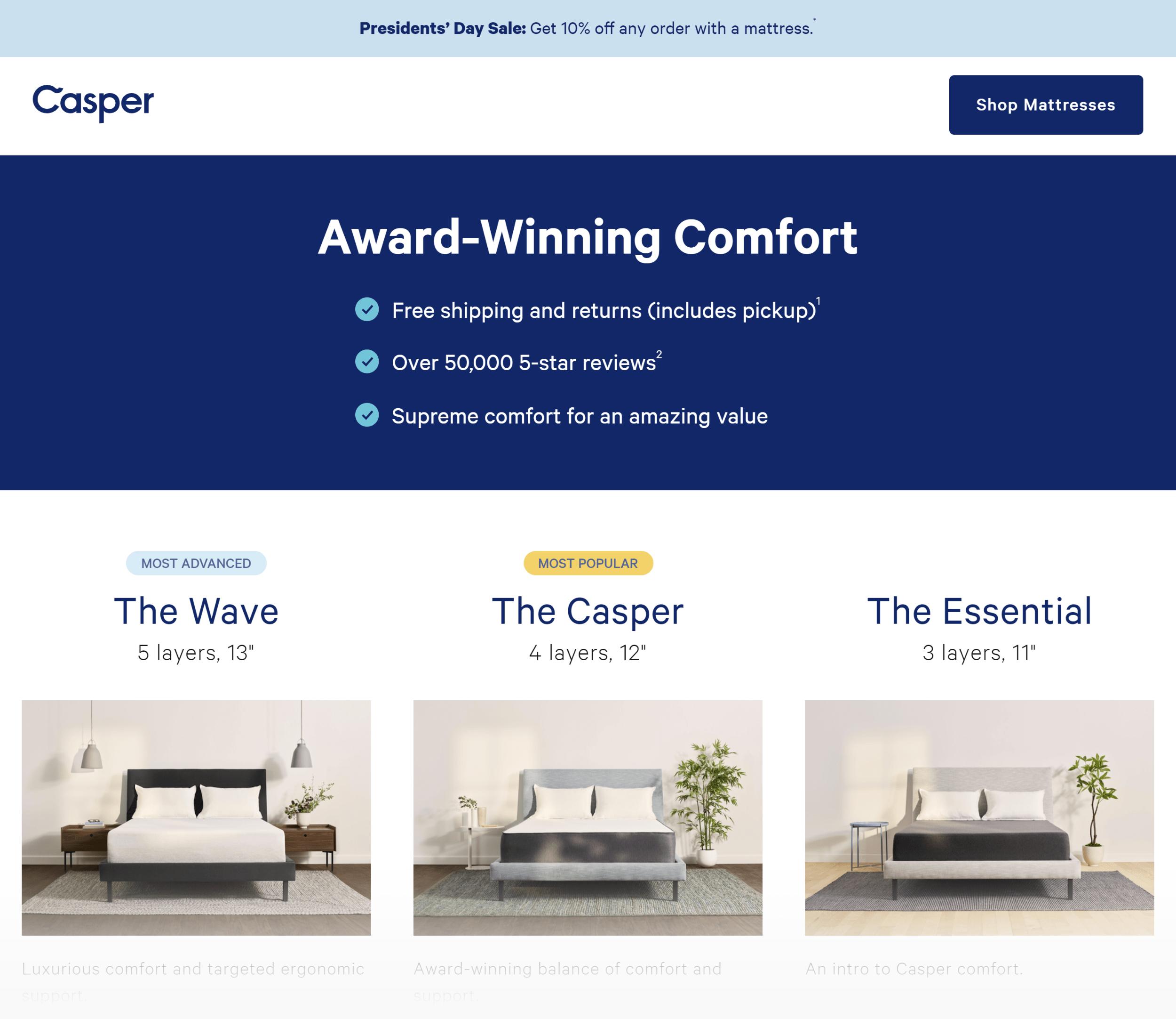 Casper – Ecommerce Landing Page