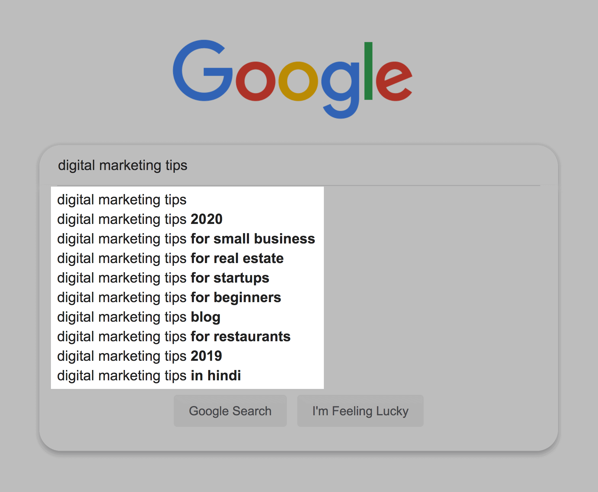 Google Suggest – Digital Marketing Tips