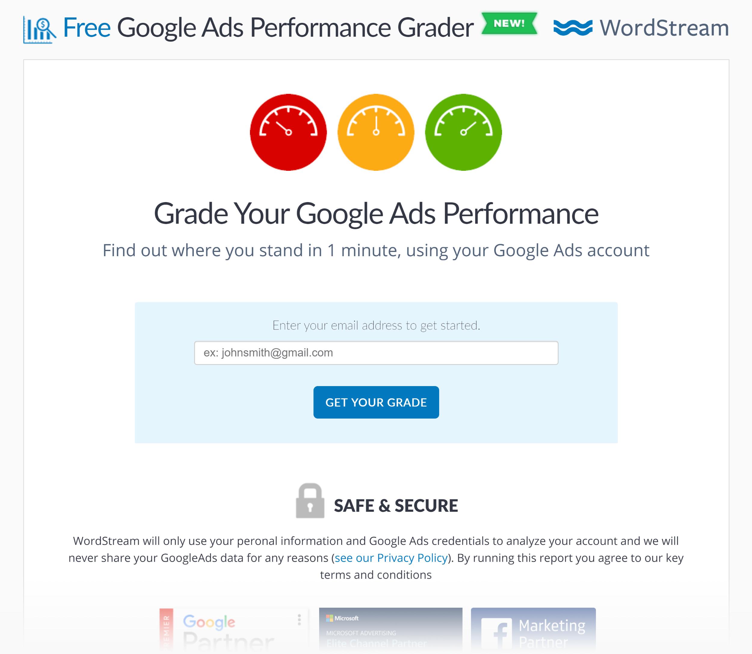 Wordstream – Adwords Performance Grader