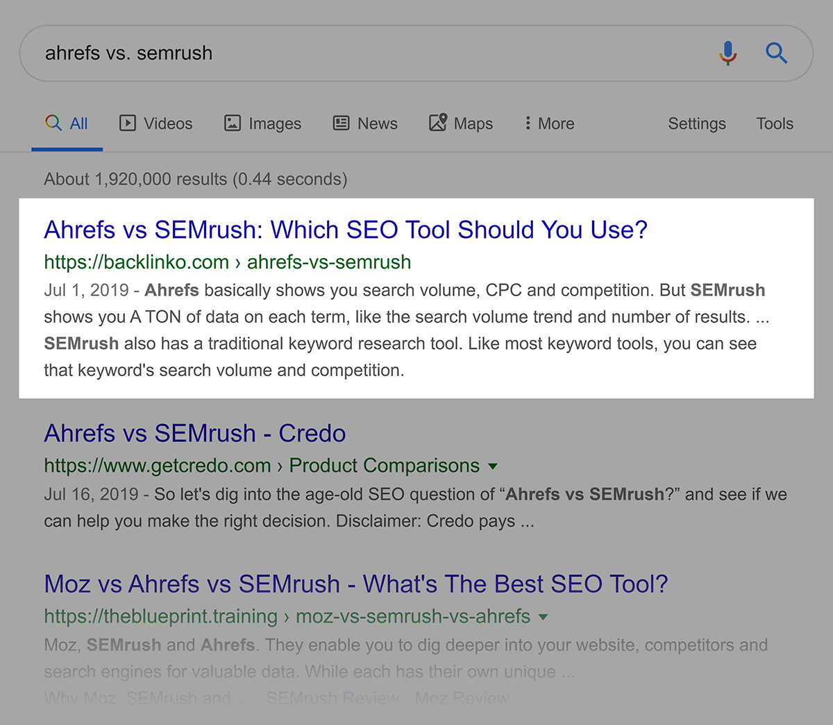 Ahrefs Vs SemRush Google SERP