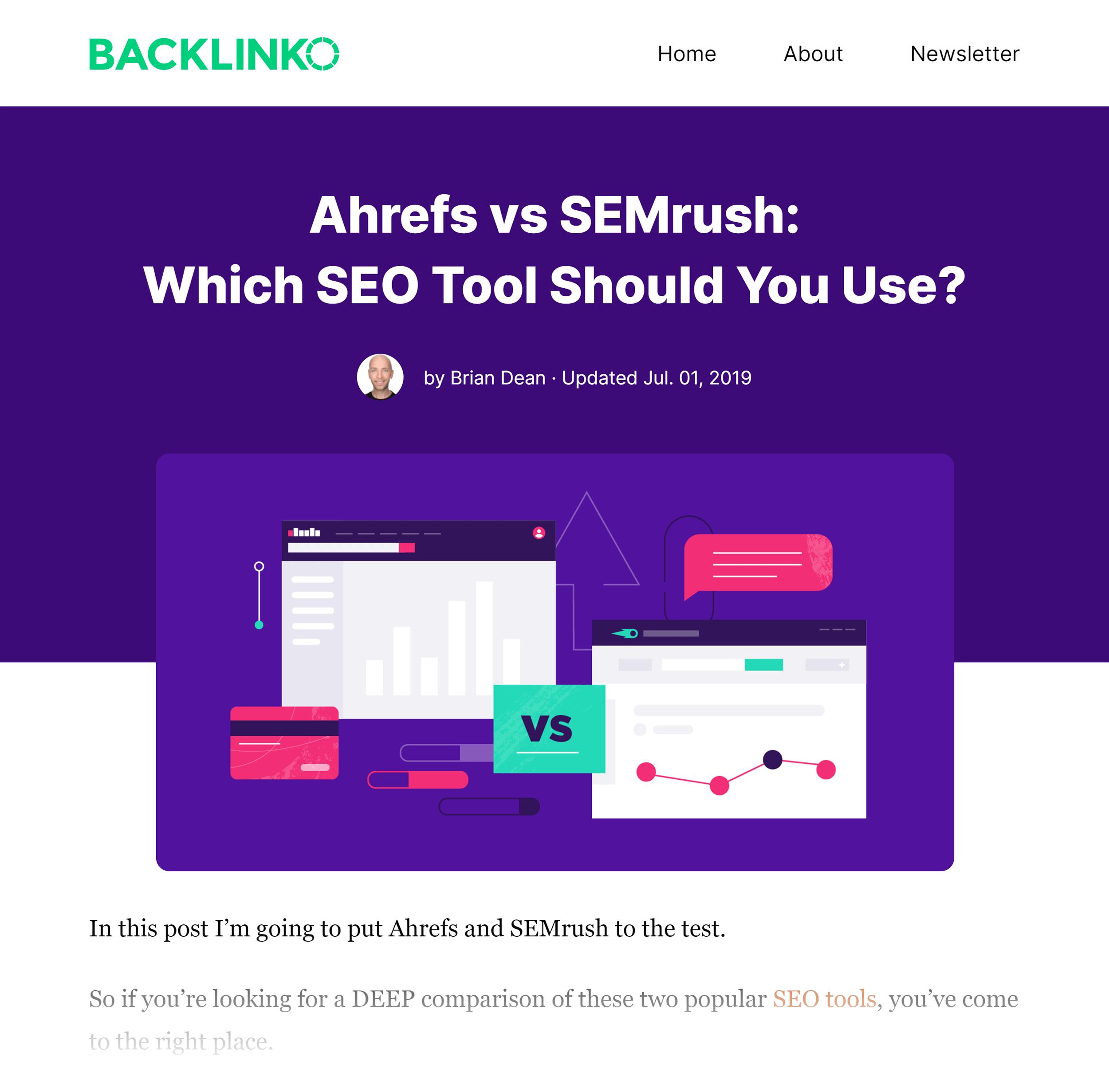 Backlinko – Ahrefs VS Semrush