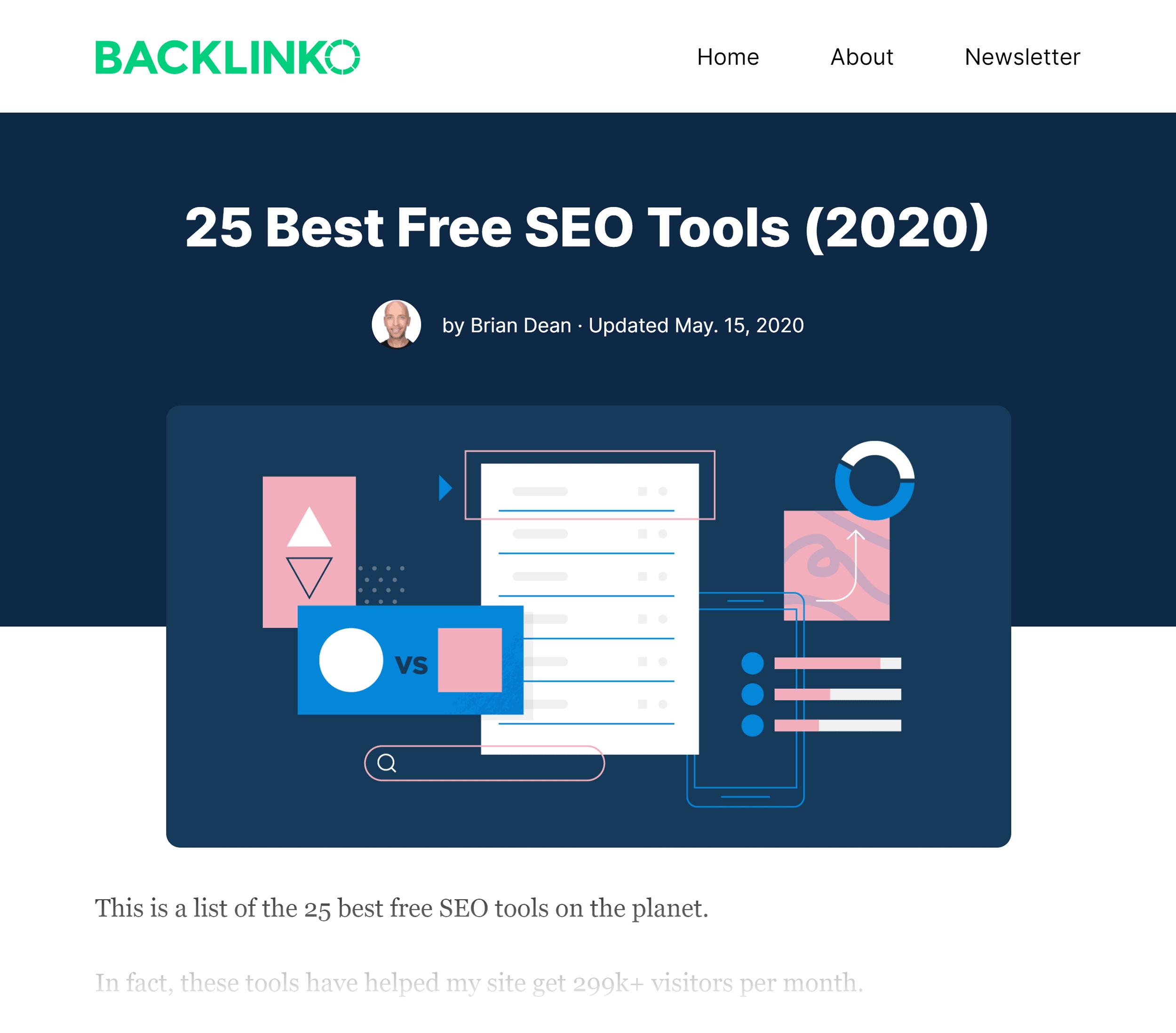 Backlinko – Best Free SEO Tools Post