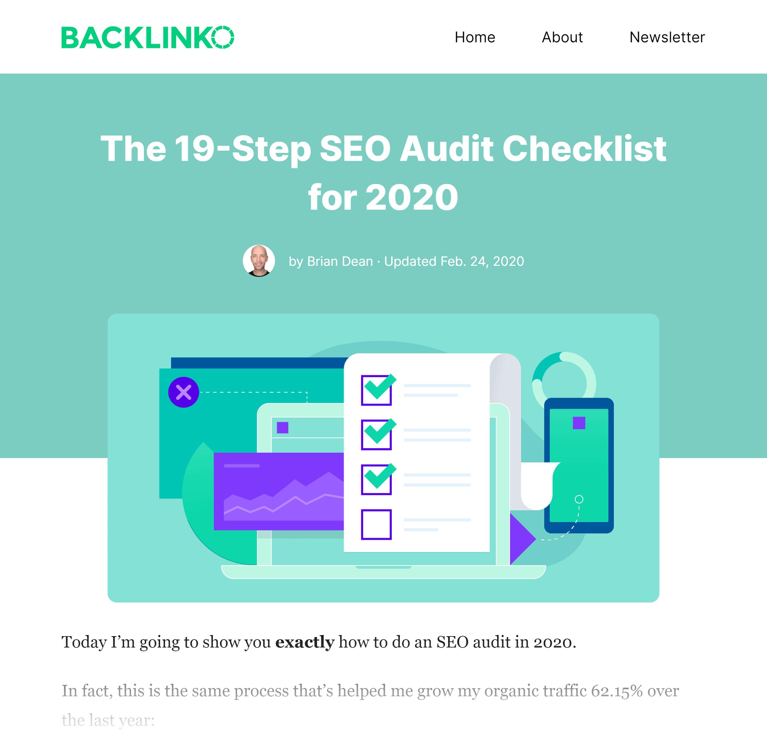Backlinko SEO Site Audit Post