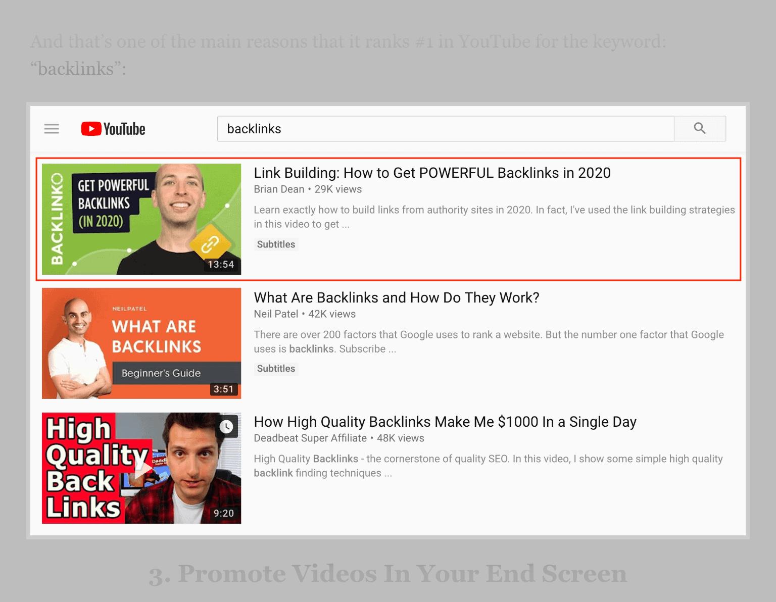Backlinko – YouTube Example