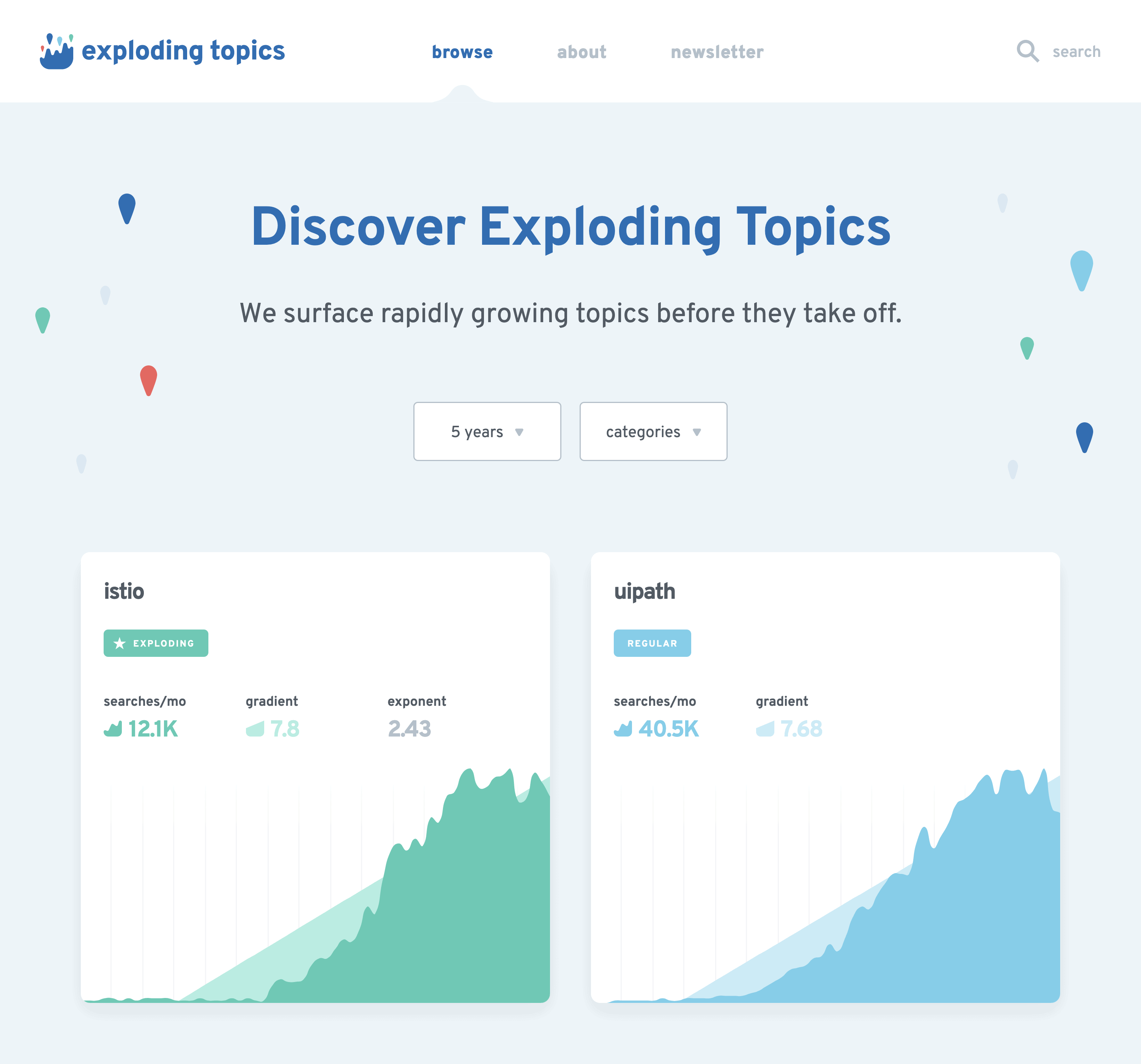Exploding Topics Homepage Repeat