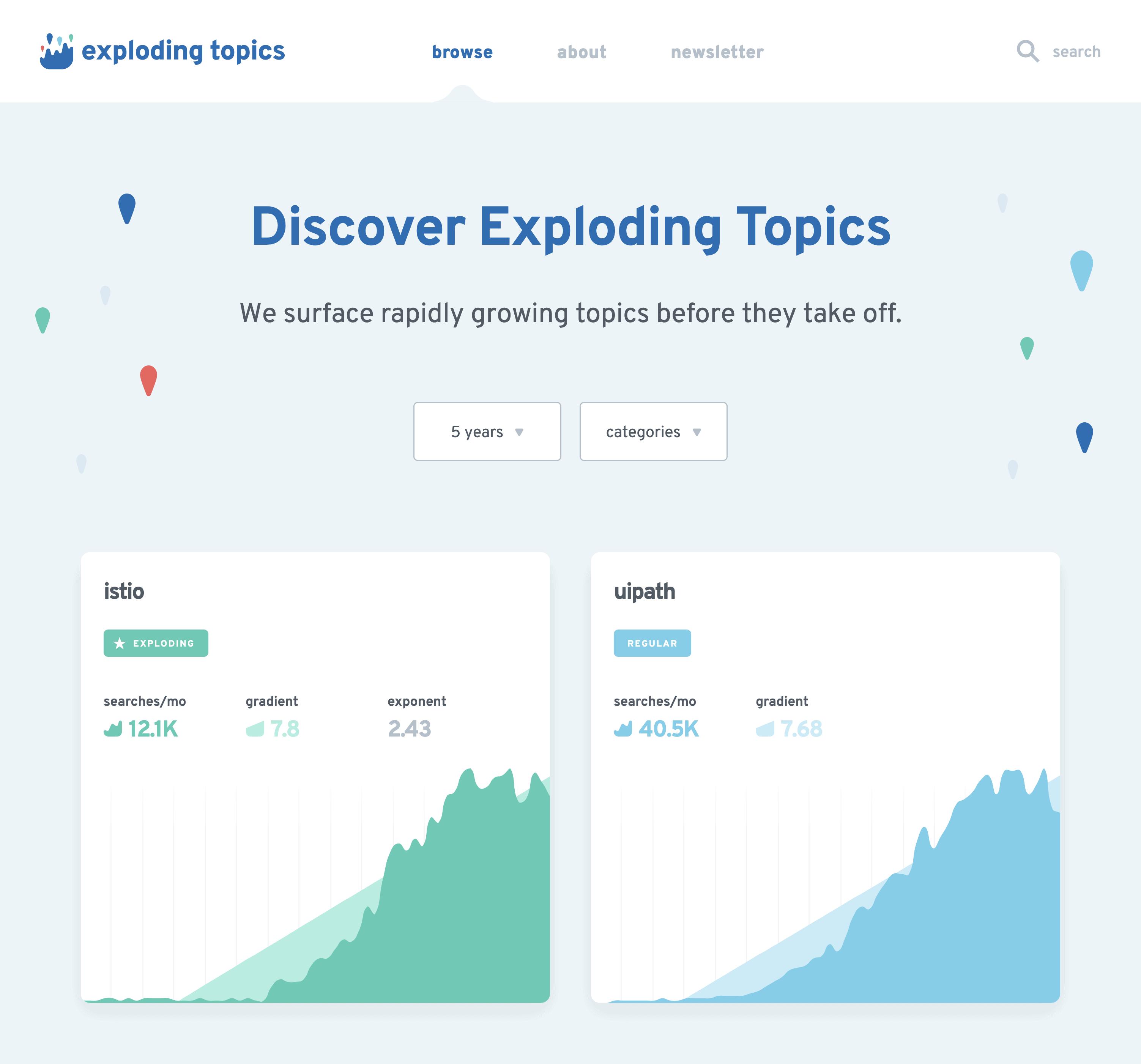 Exploding Topics Homepage