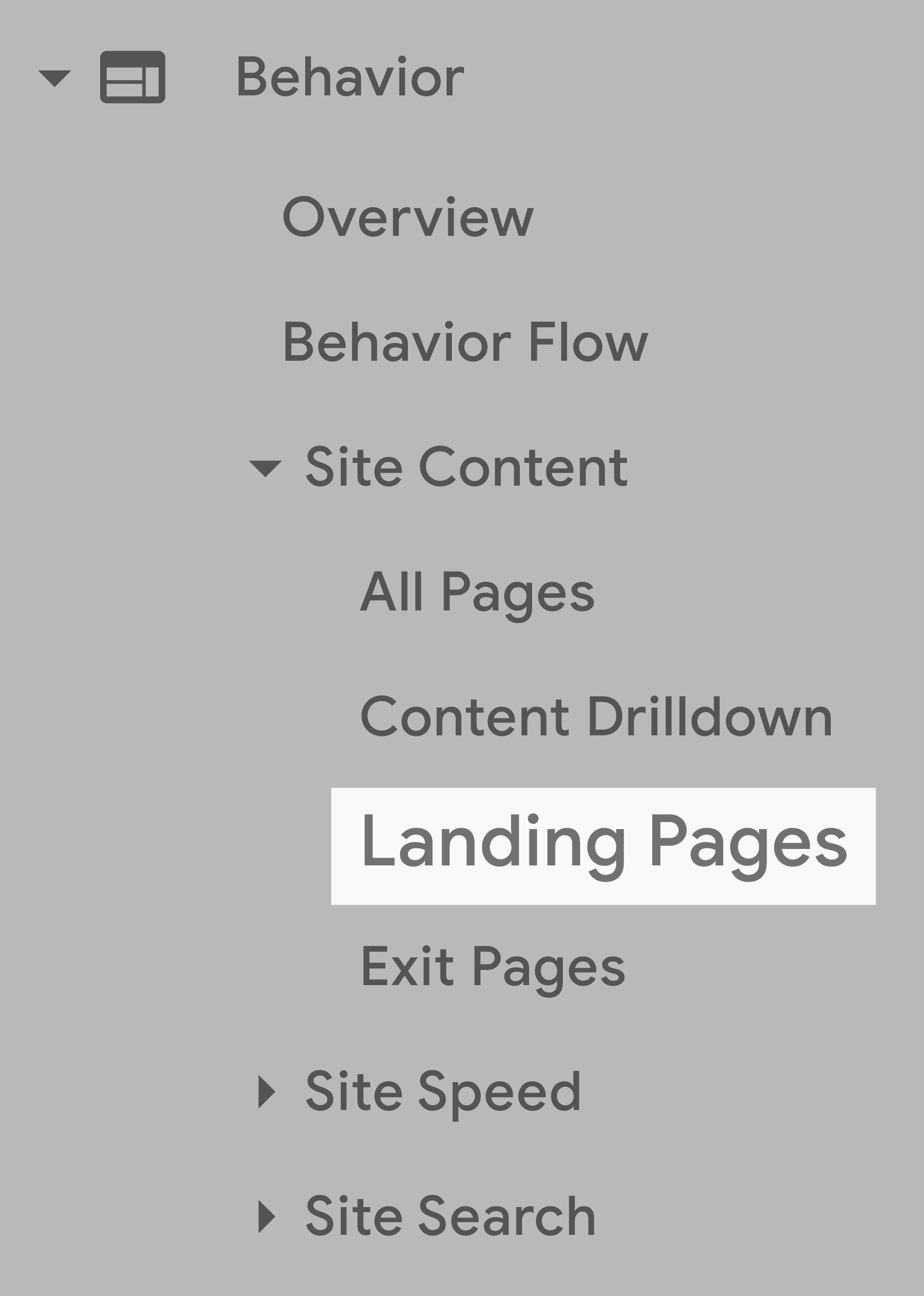 Google Analytics – Navigation bar – Landing pages