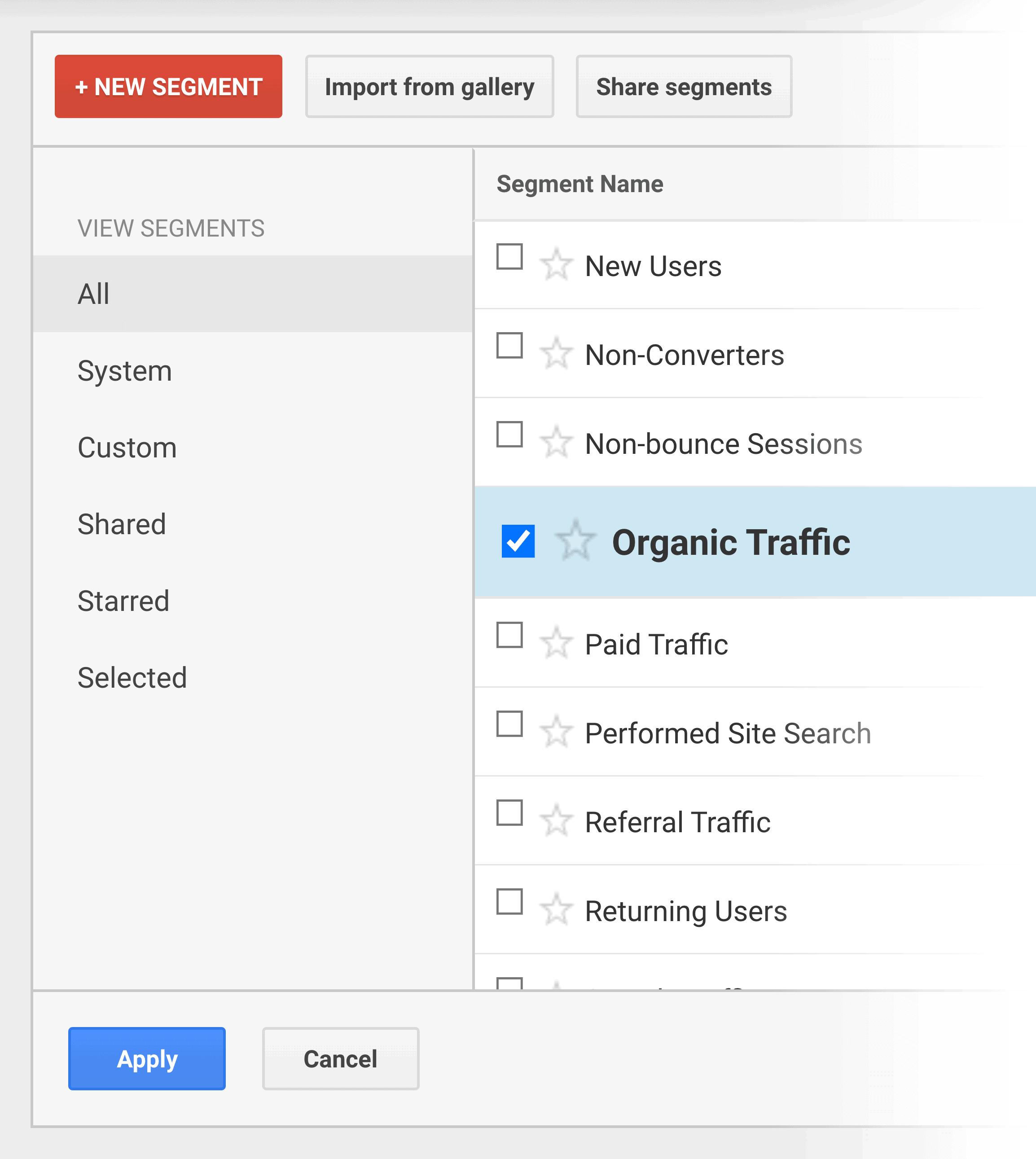 Google Analytics – New segment – Organic traffic