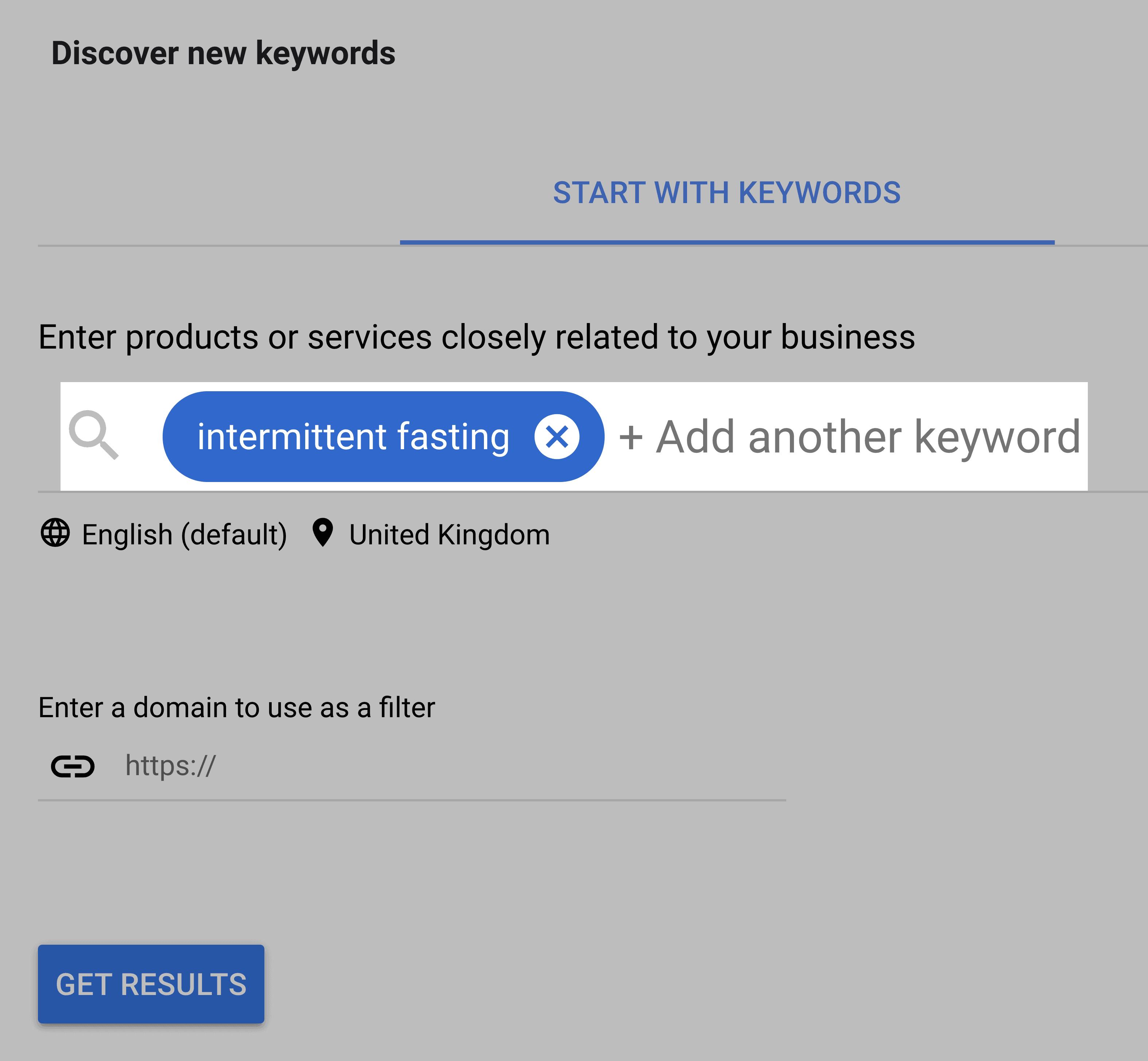 Google Keyword Planner Search