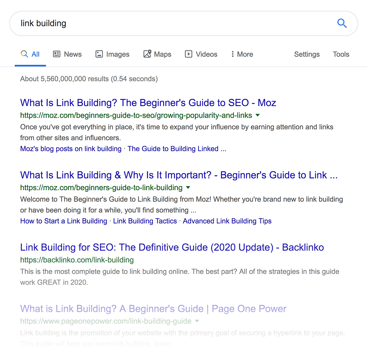 Link Building First Page SERP