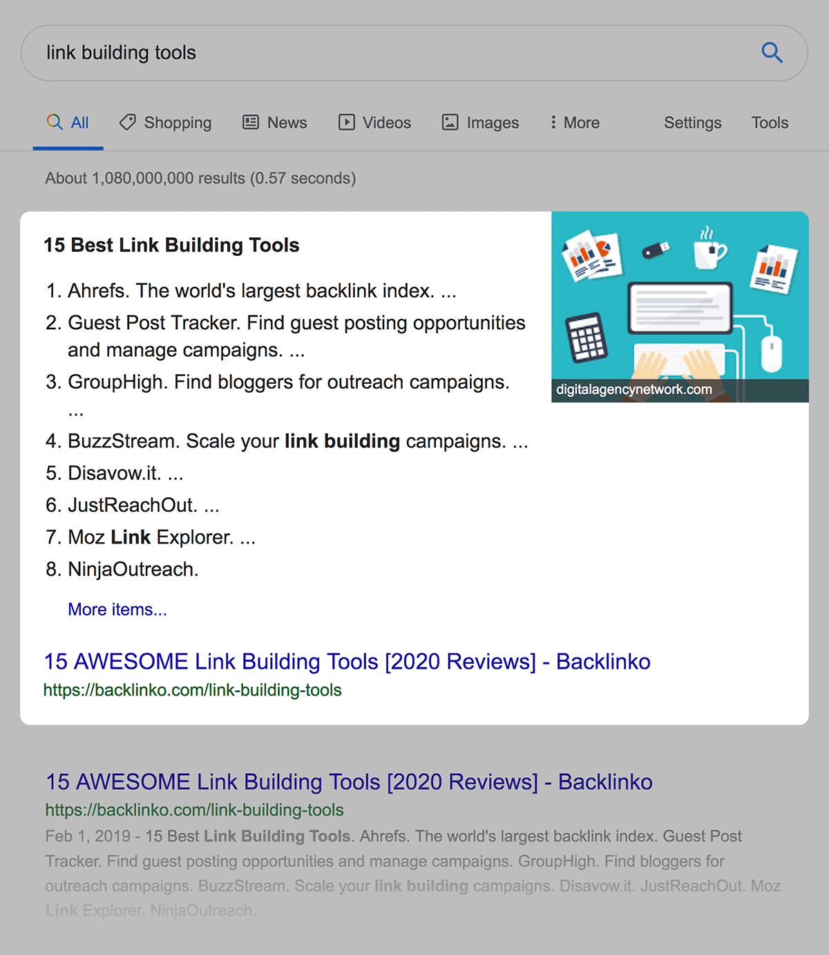 Link Building Tools Post Featured Snippet