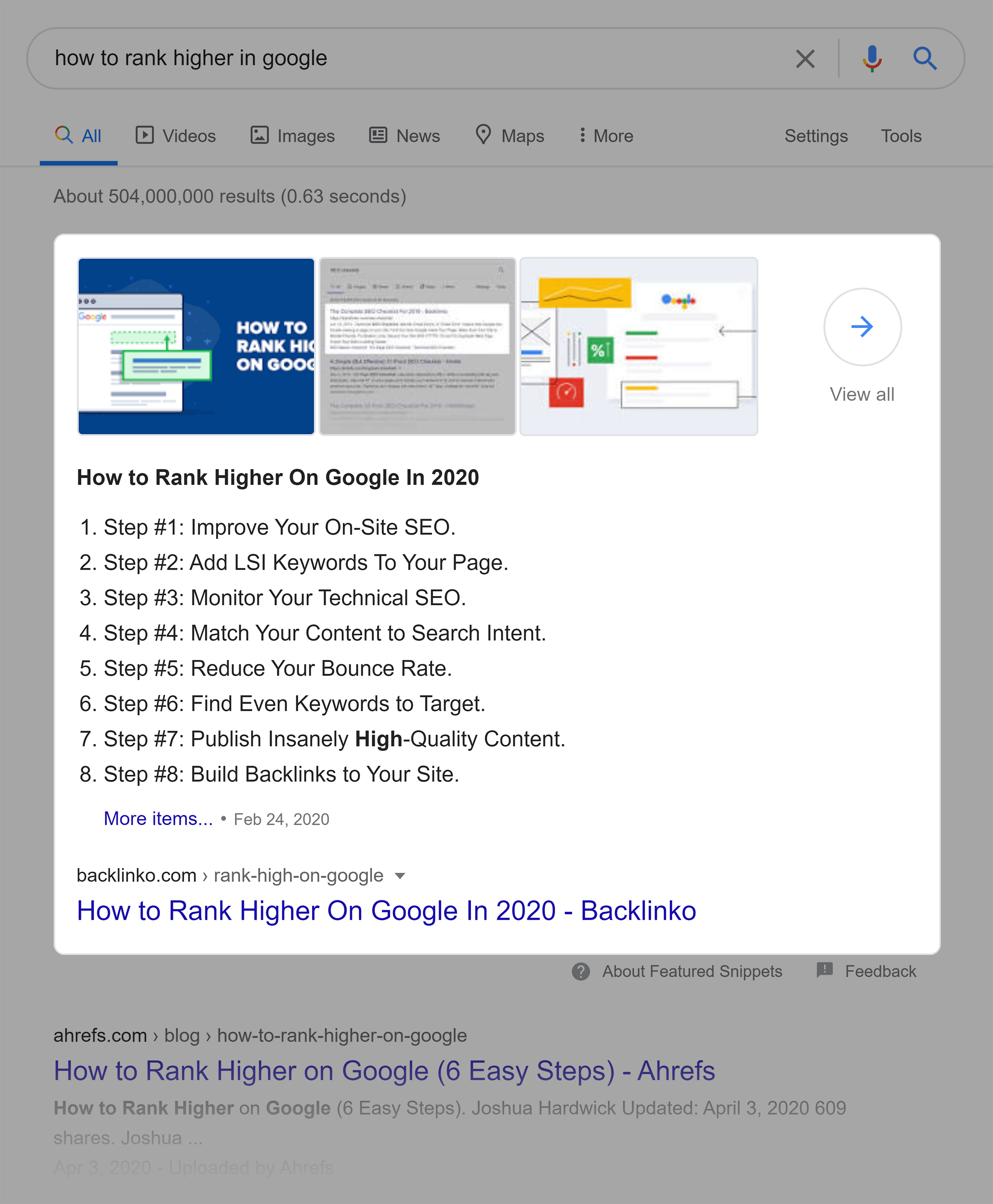 Rank High On Google Featured Snippet