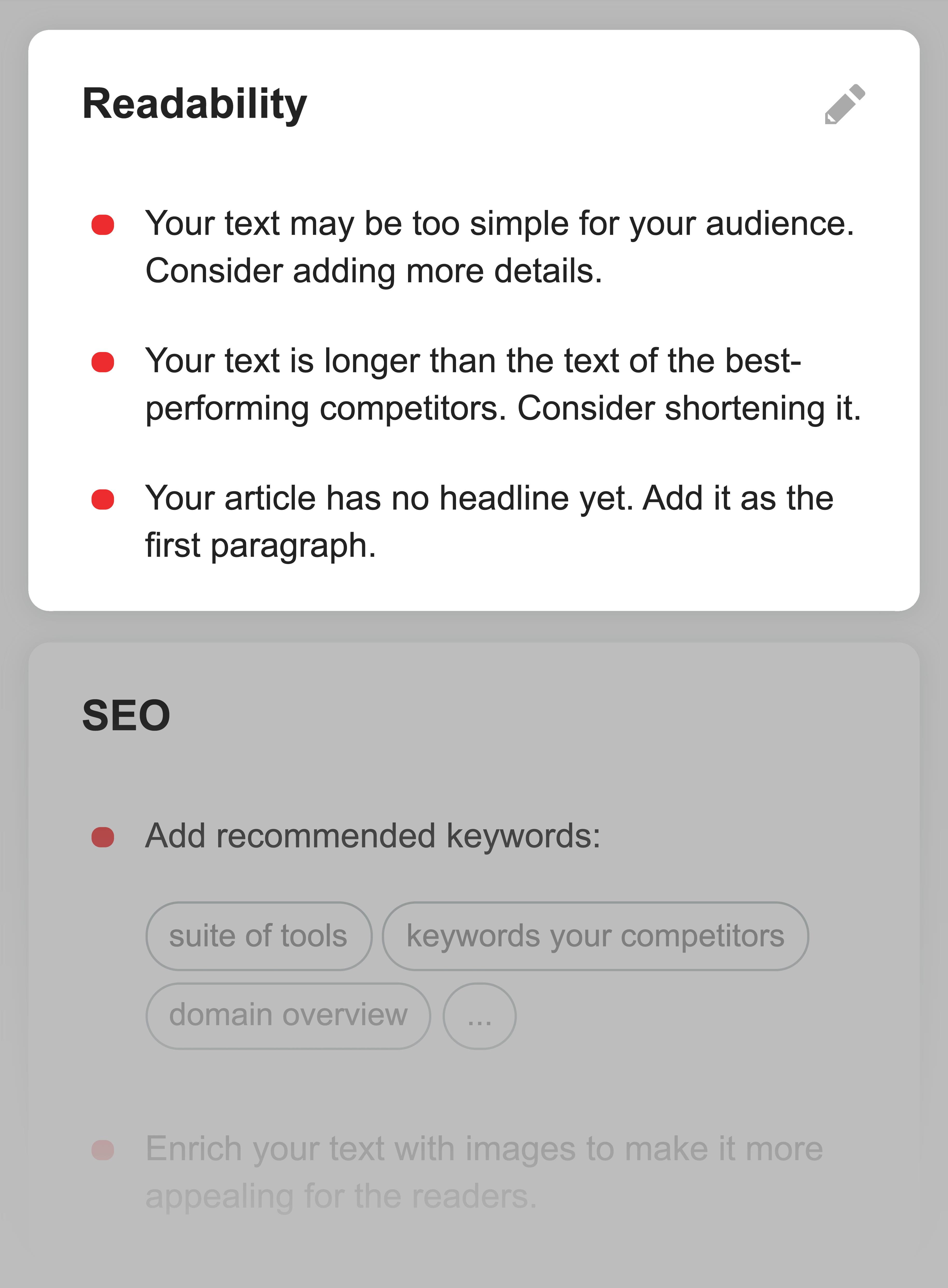 SEMrush – Content check readability