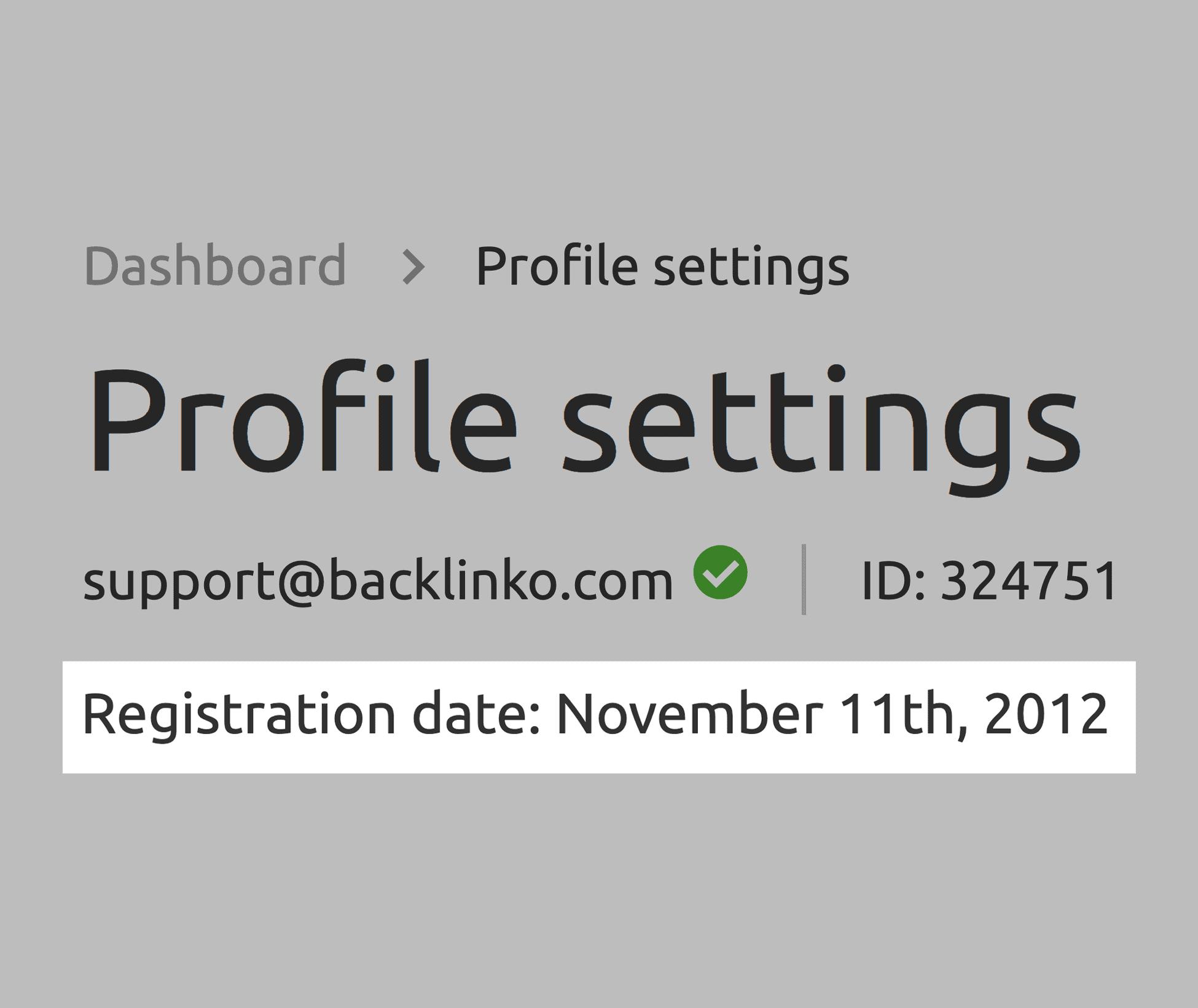 SEMrush – Profile – Registration date