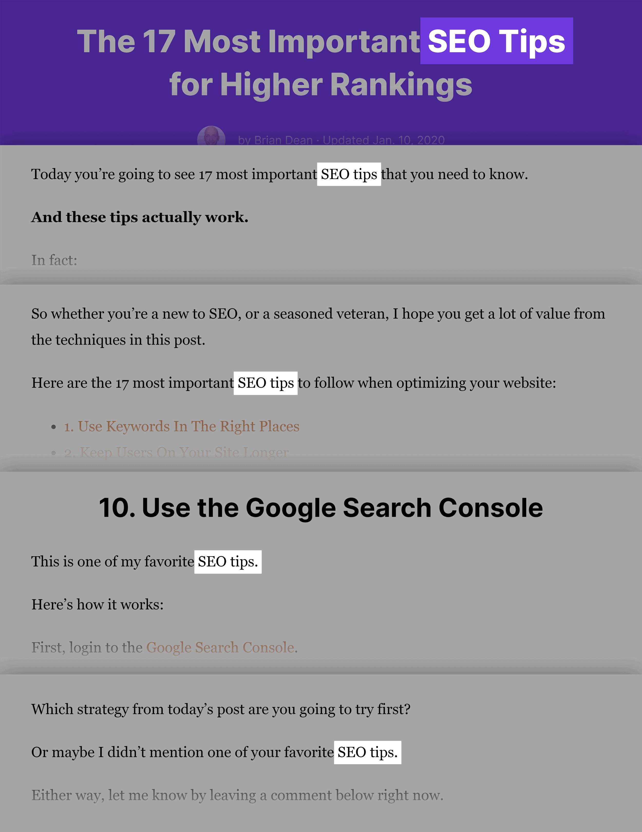 SEO Tips Keyword In Post