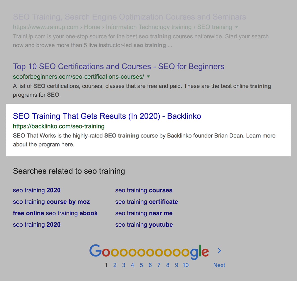 SEO Training First Page Ranking SERP