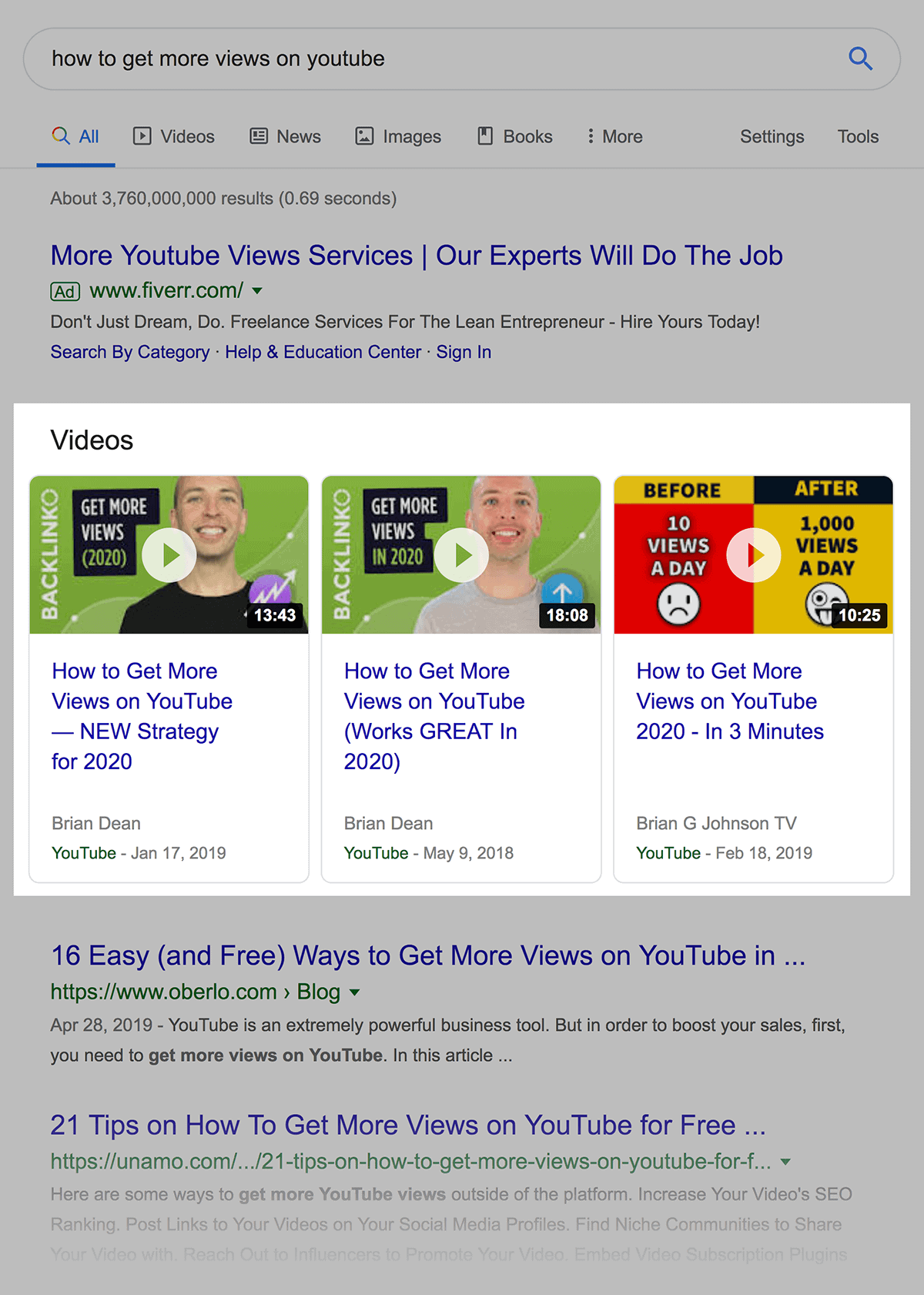 Videos Results In SERP