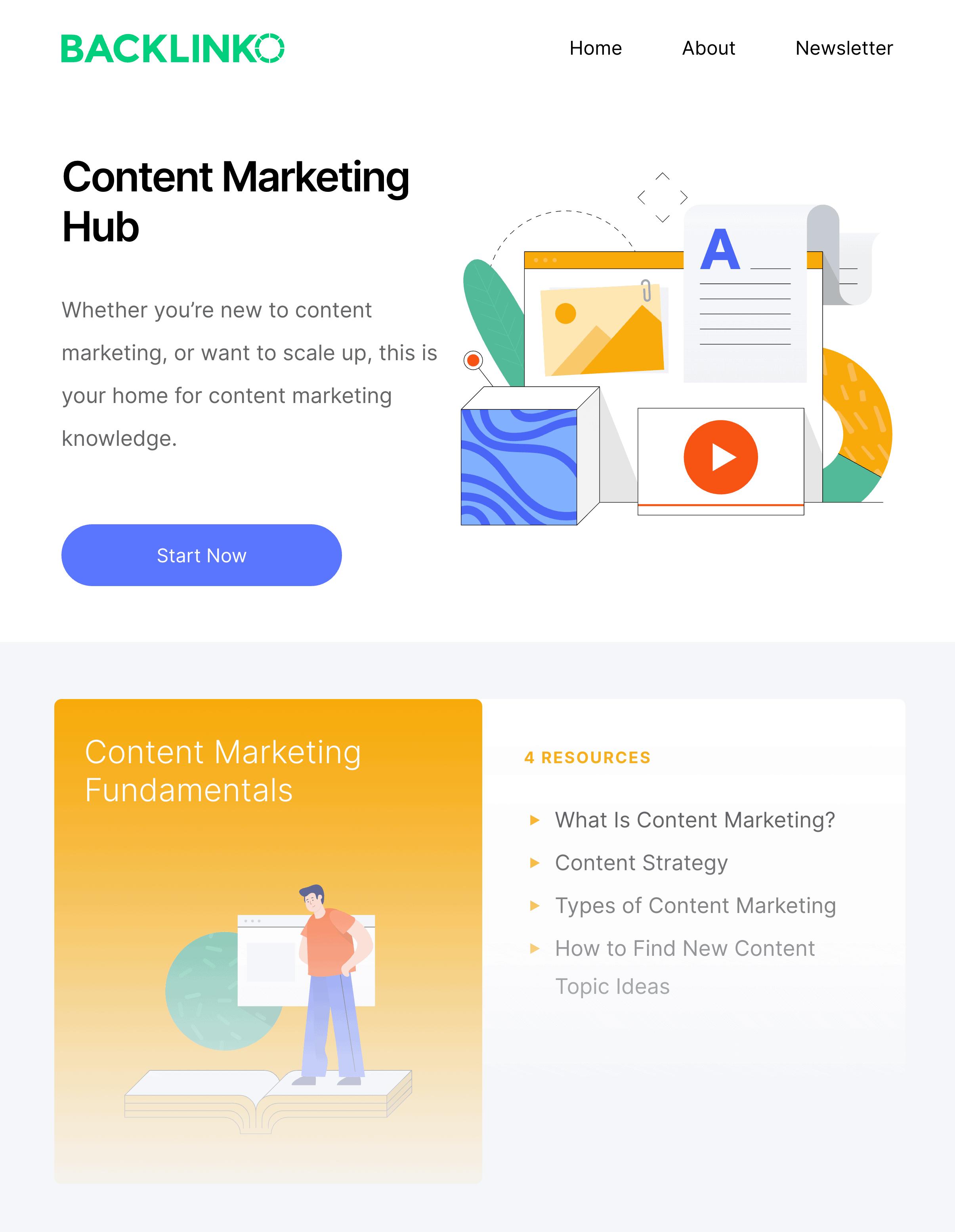 Backlinko content marketing hub