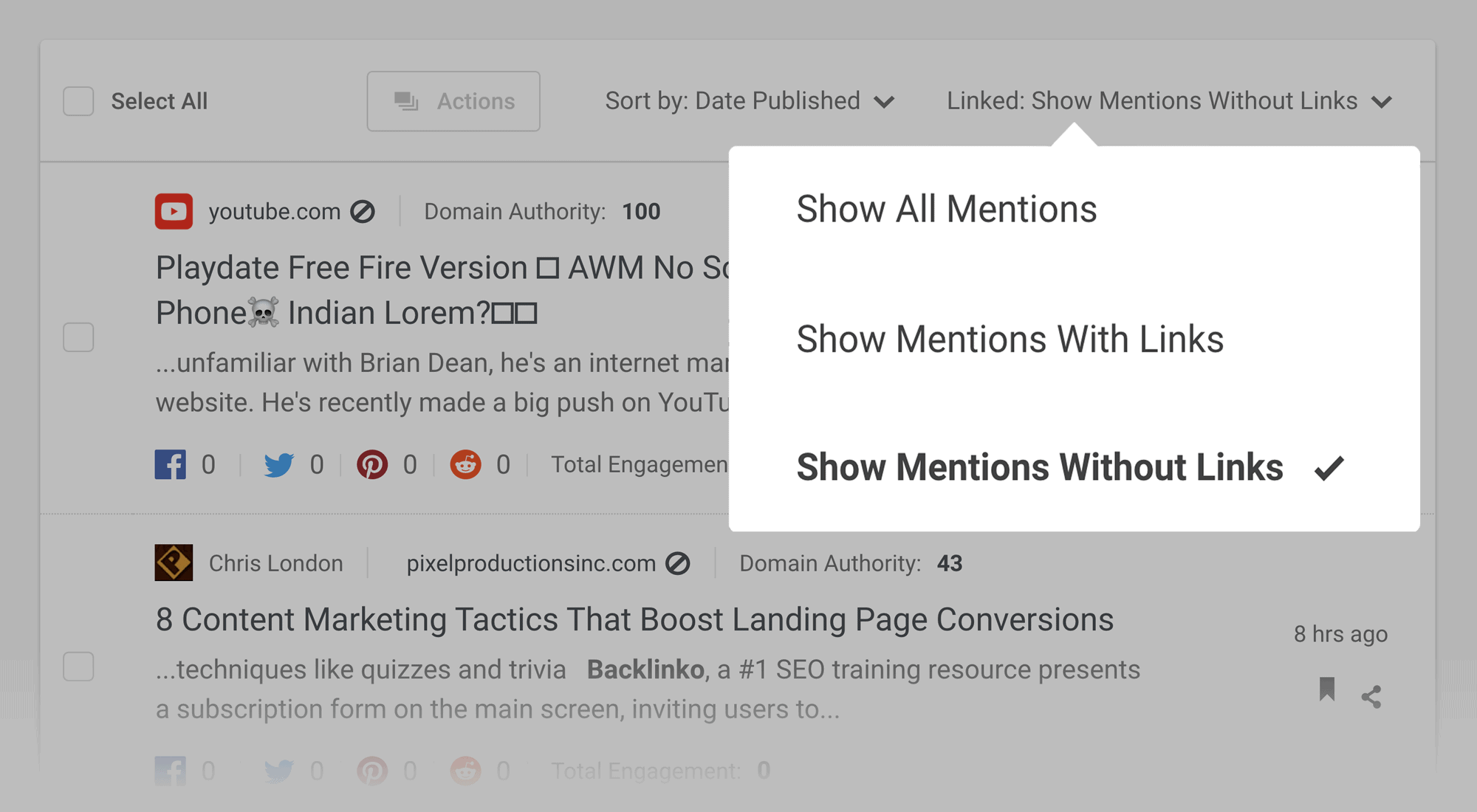 Buzzsumo – Brand alerts – Filter mentions