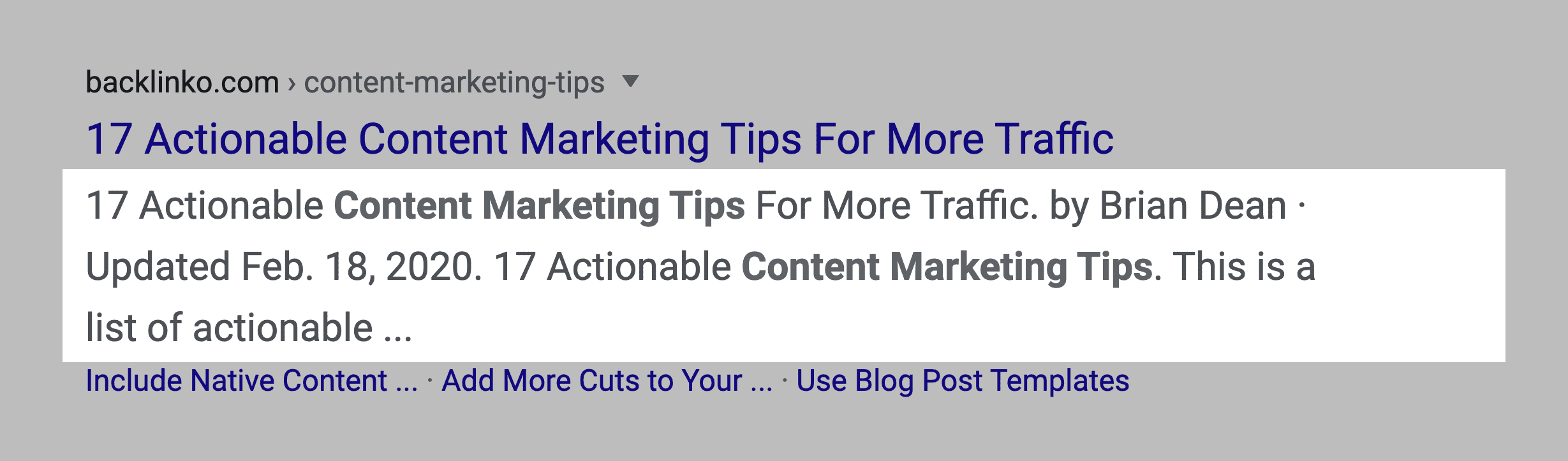 Content marketing tips post – Meta tags in SERPs