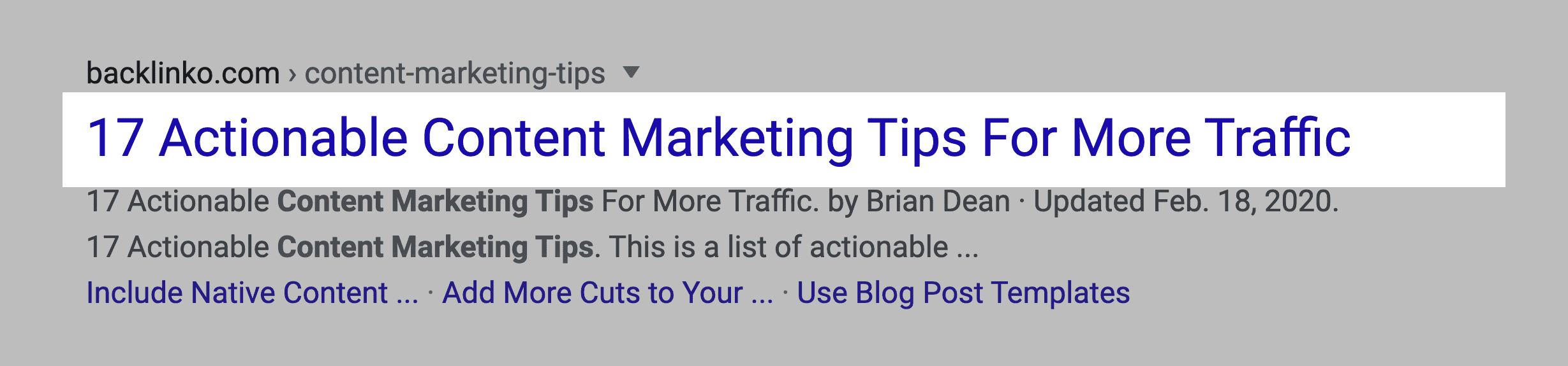 Content marketing tips post – Title tag in SERPs