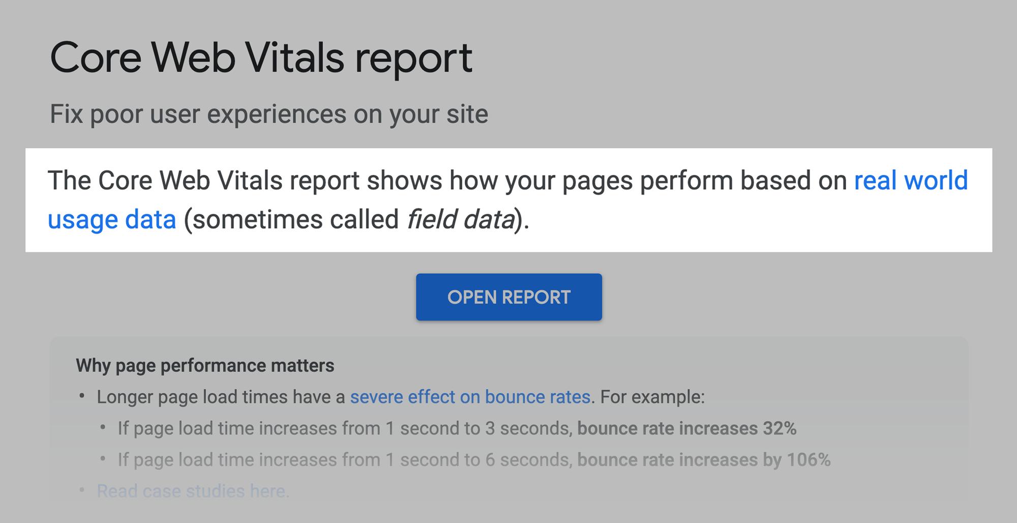Google – Core web vitals report