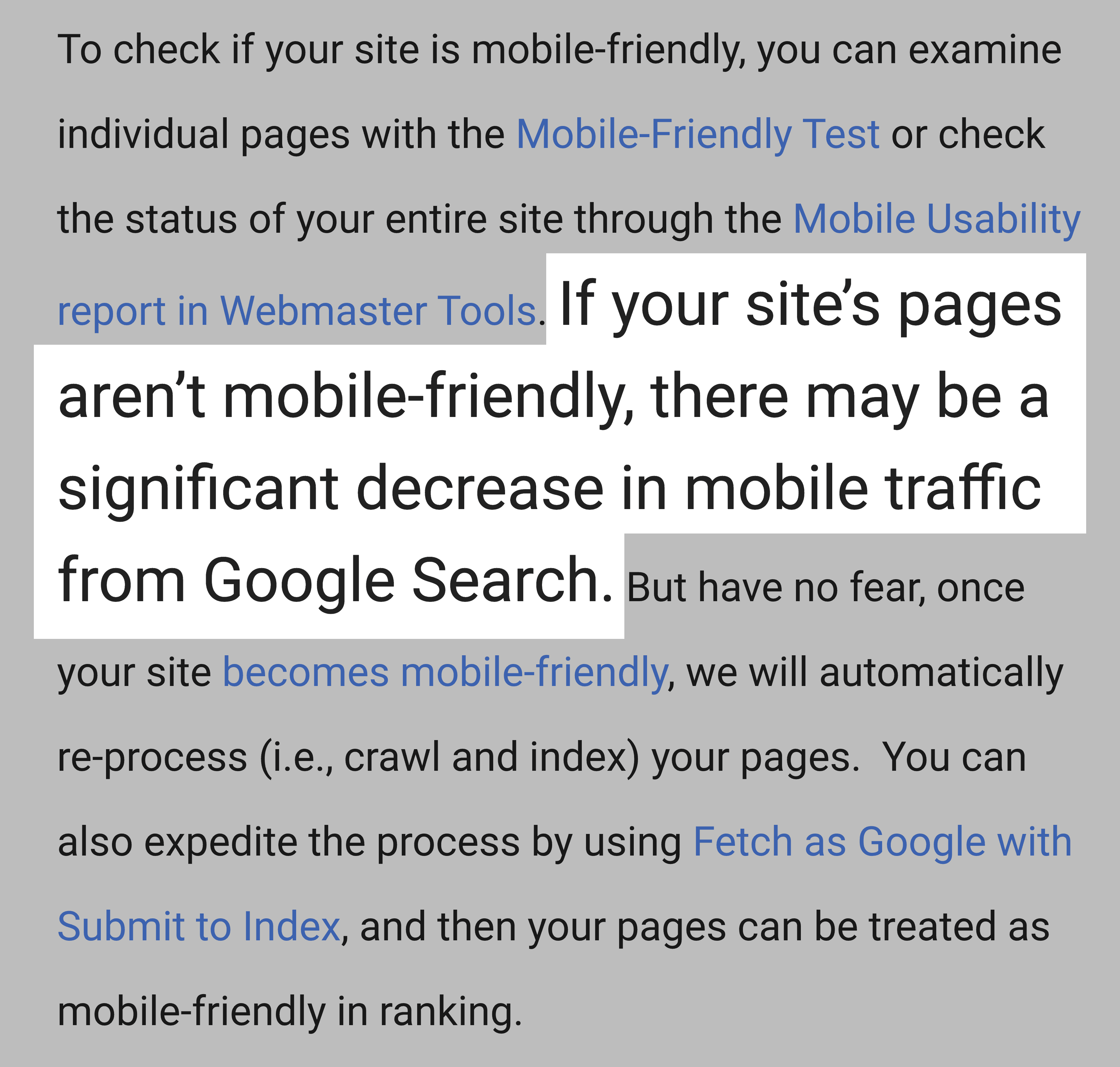Google downranks sites not optimized for mobile