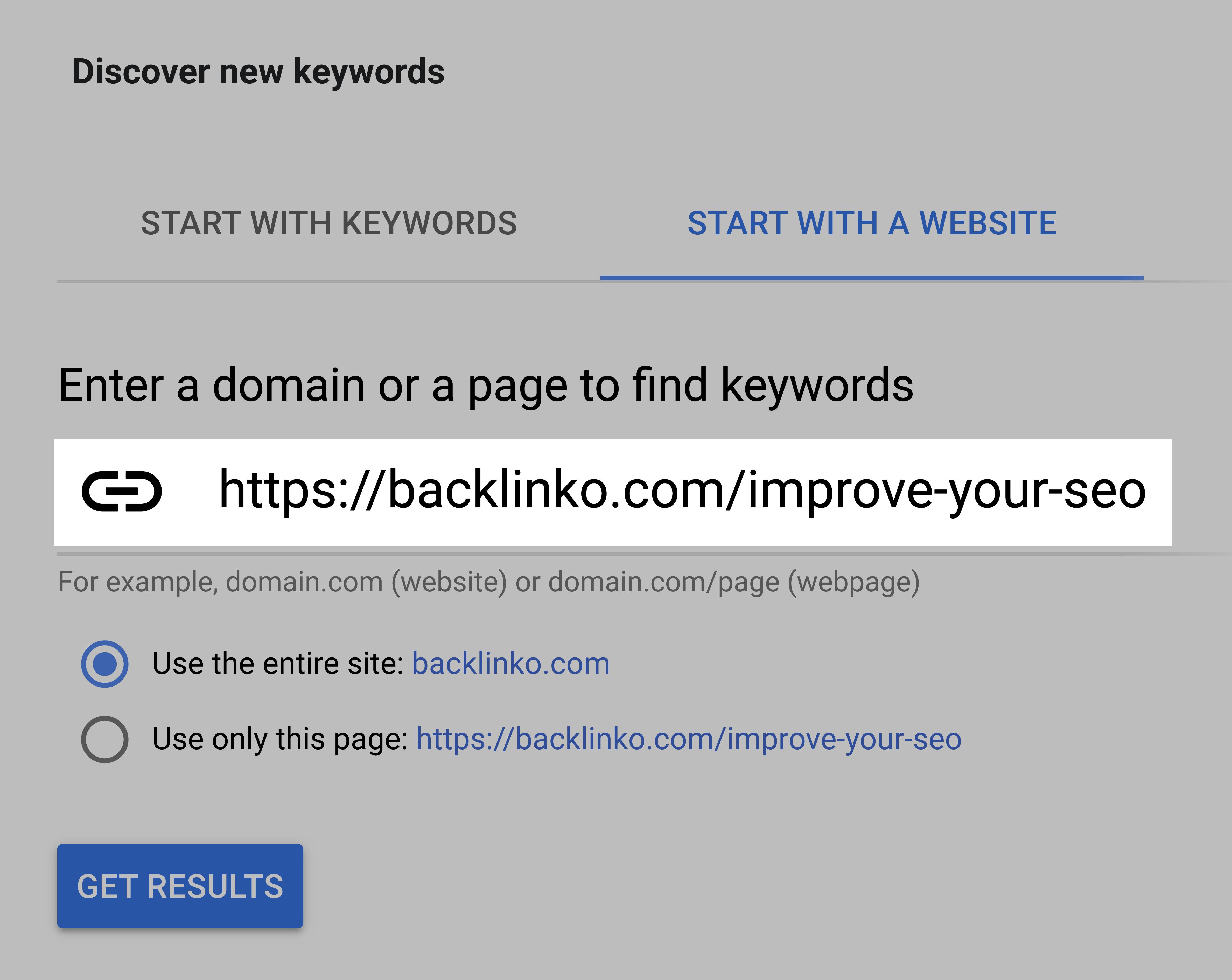 Google keyword planner – Enter URL
