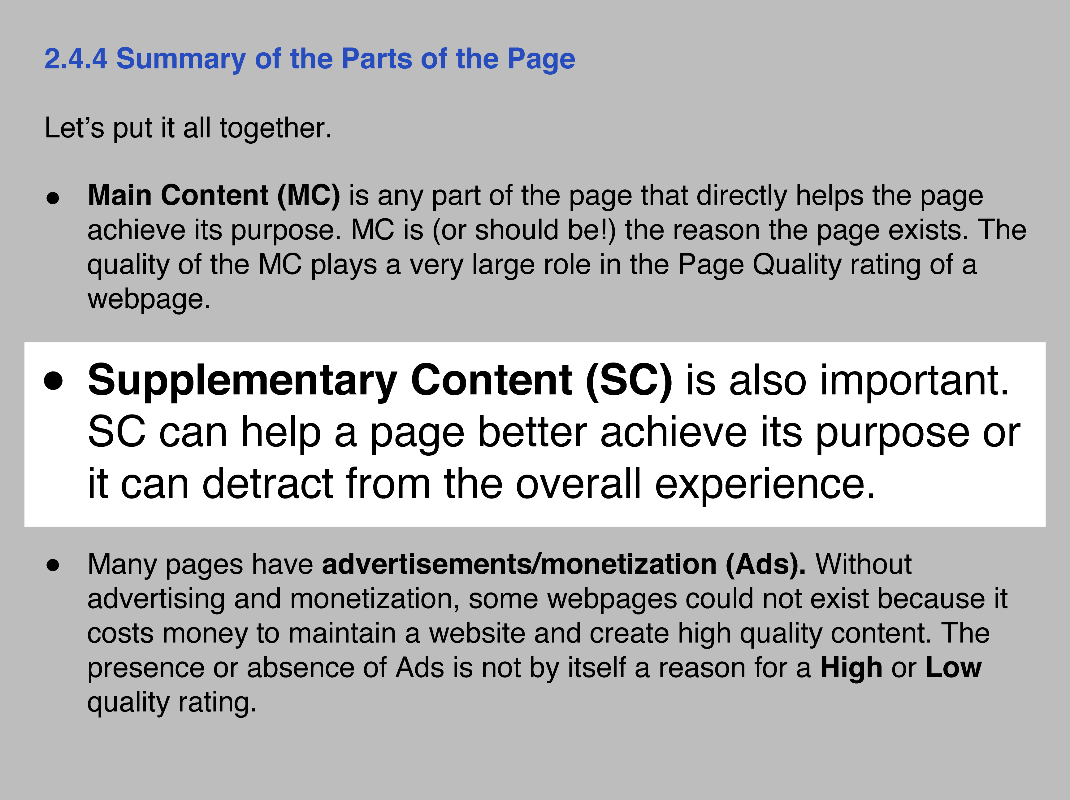 Google – Supplementary content