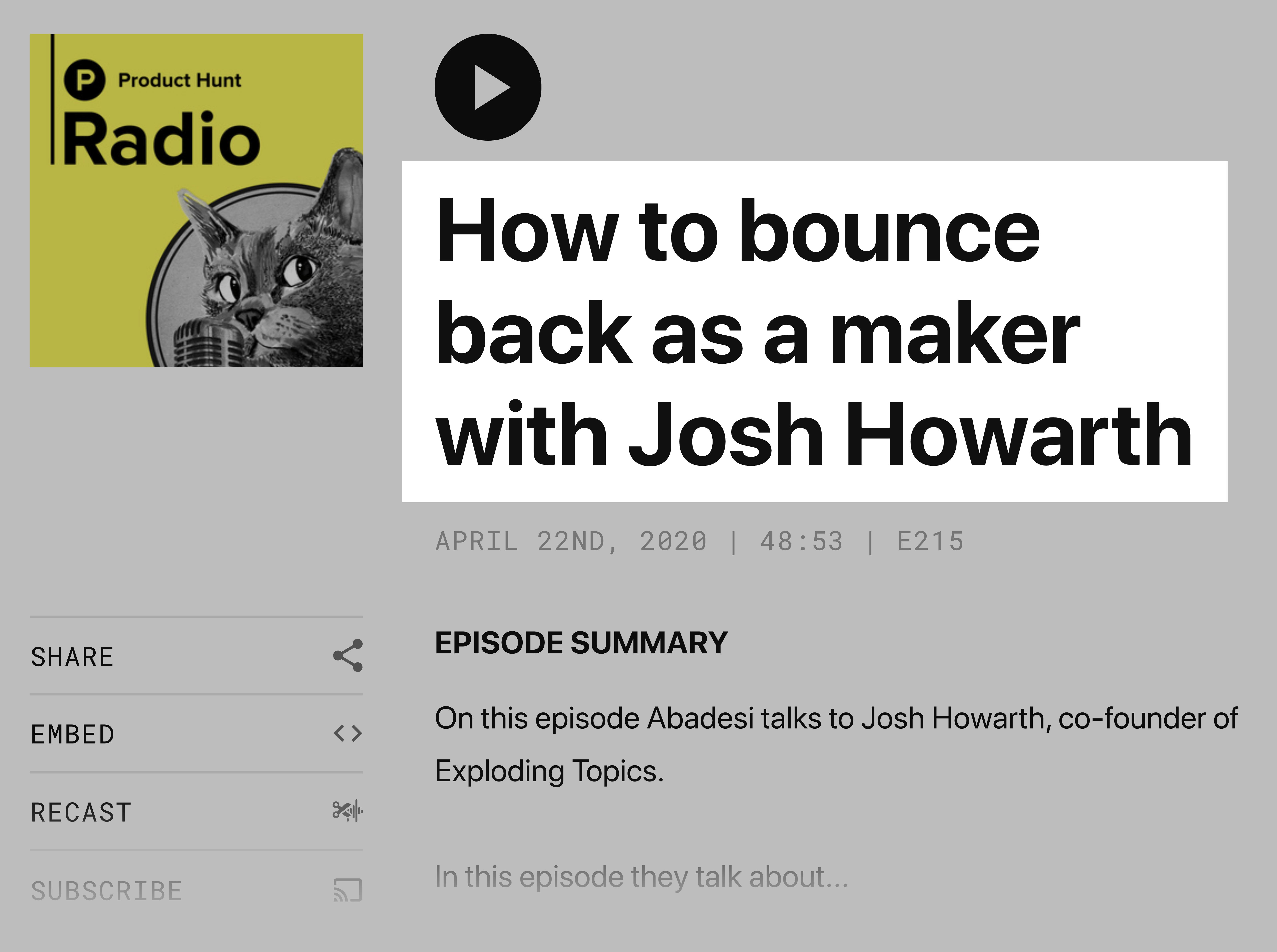 Josh on Product Hunt podcast
