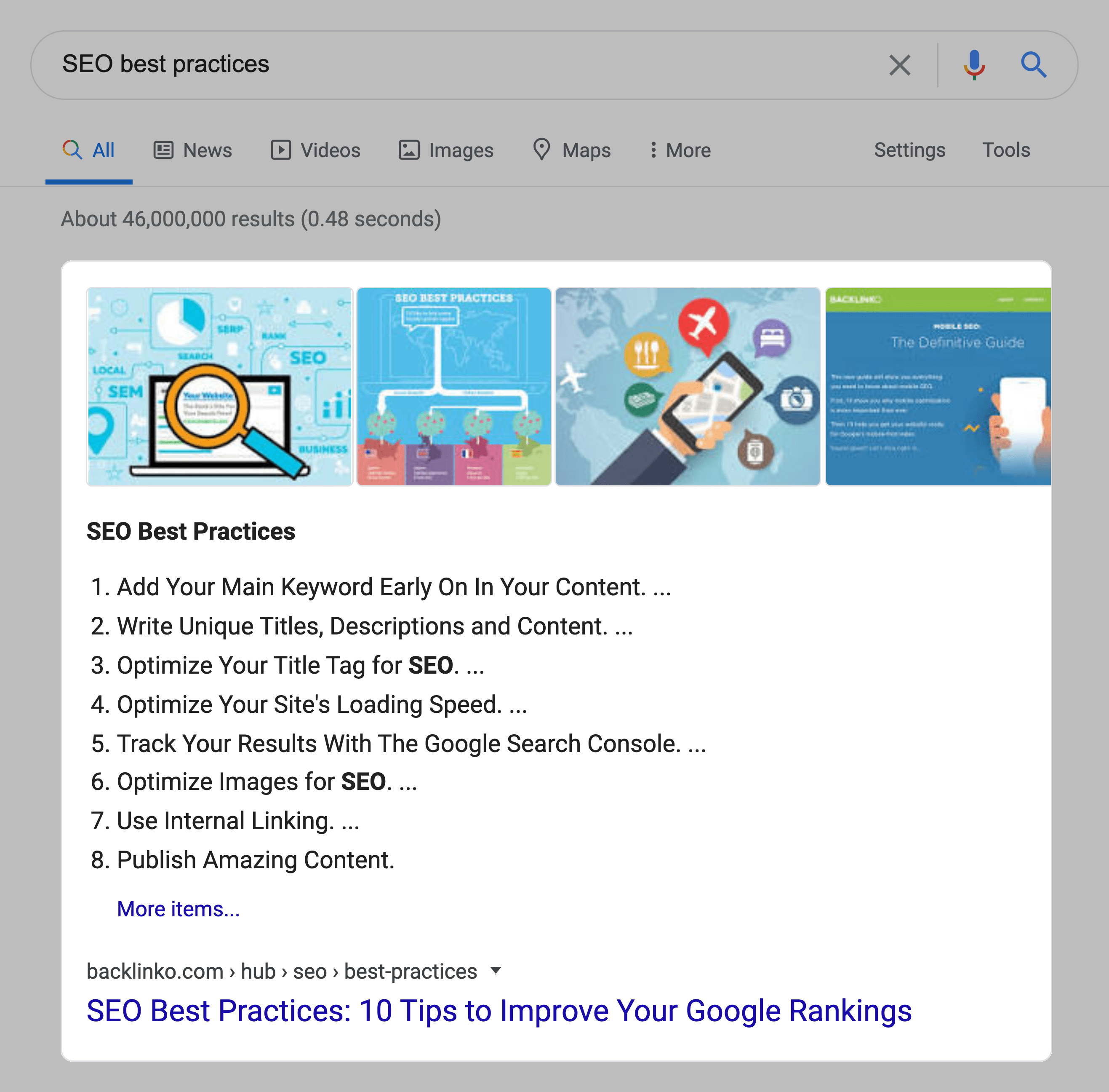 SEO best practices – SERPs – Featured snippet