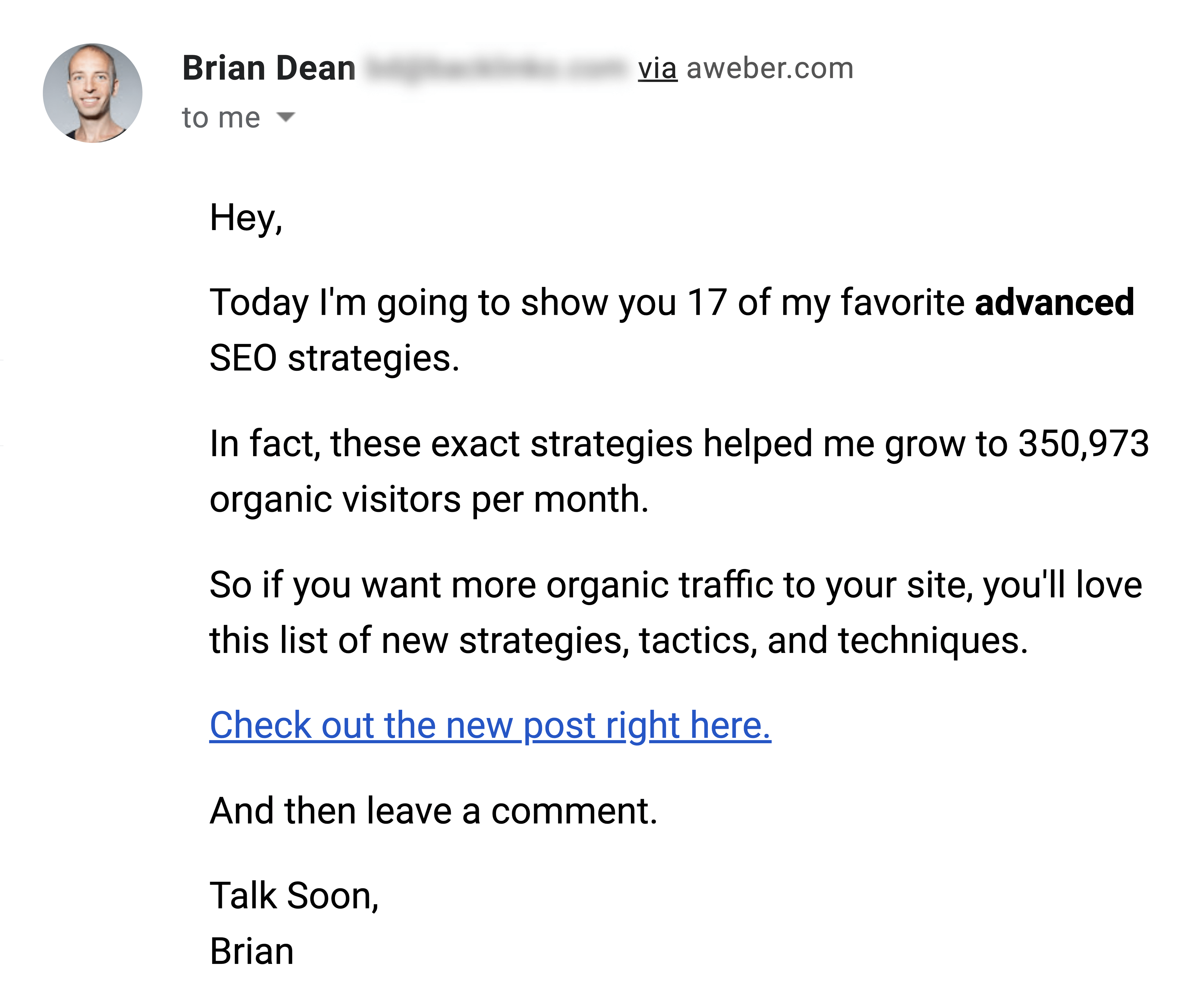 Advanced SEO Strategies Post Announcement Email