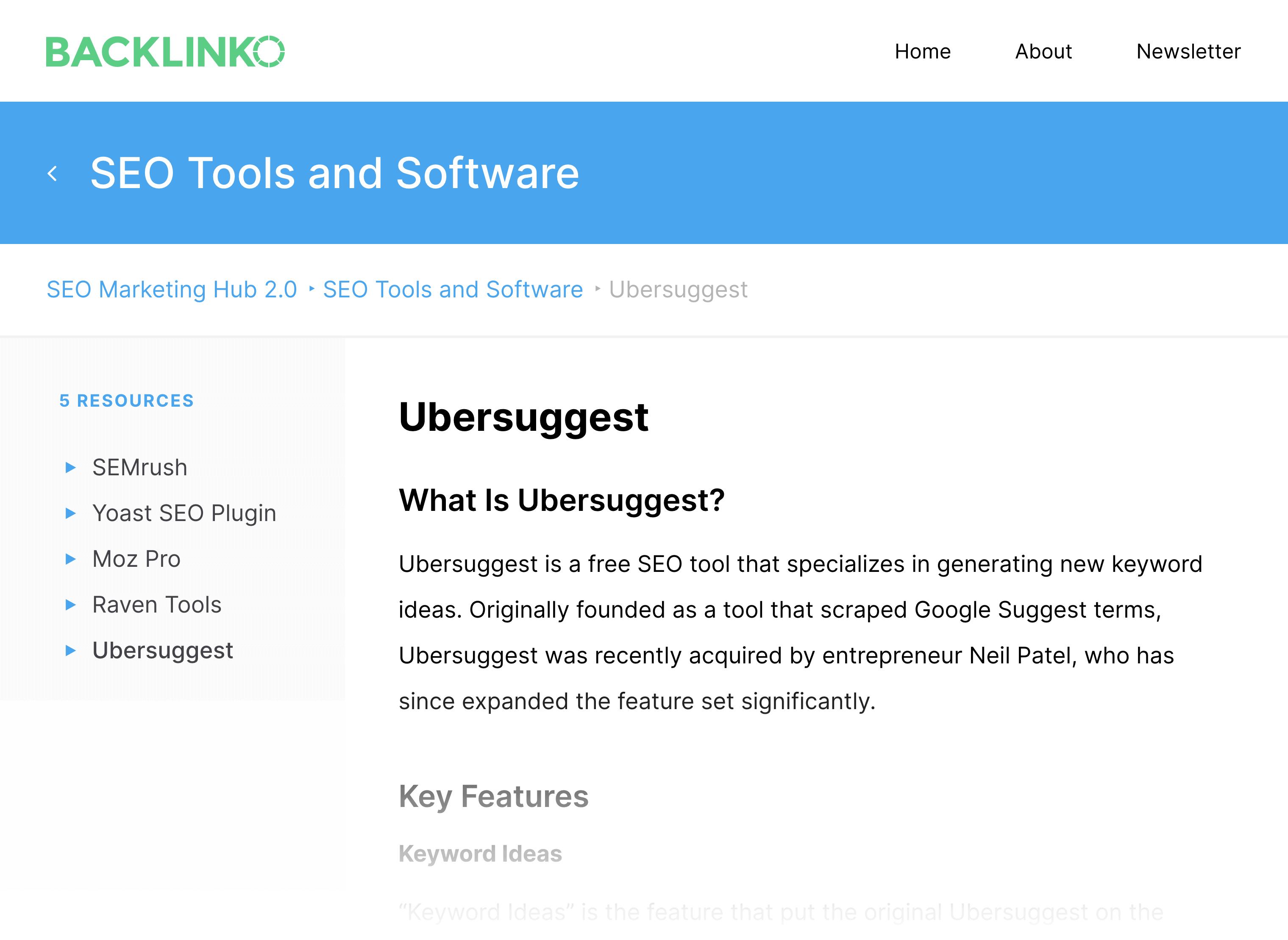 Backlinko Hub – SEO Ubersuggest