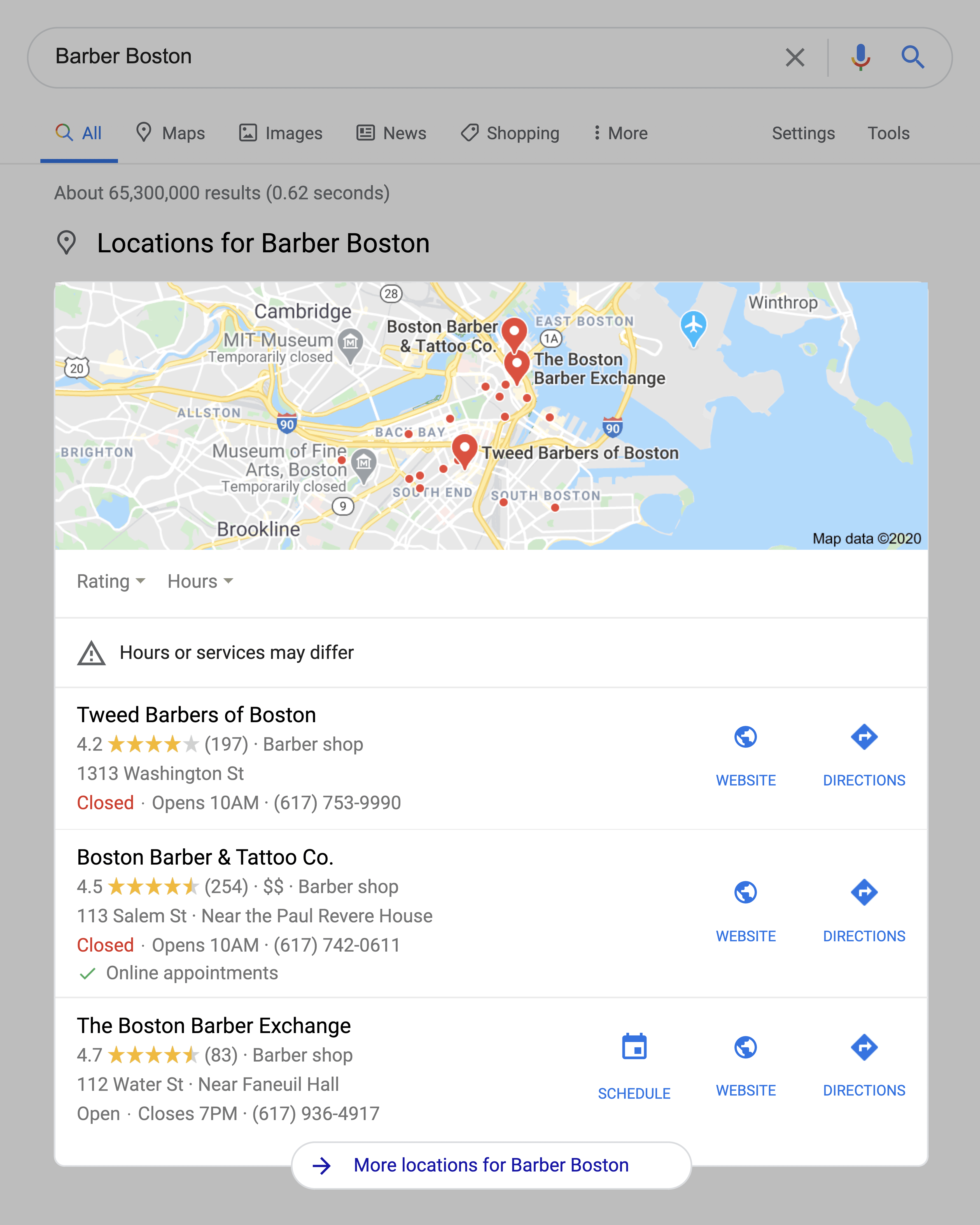 Barber Boston SERPs Location Pack