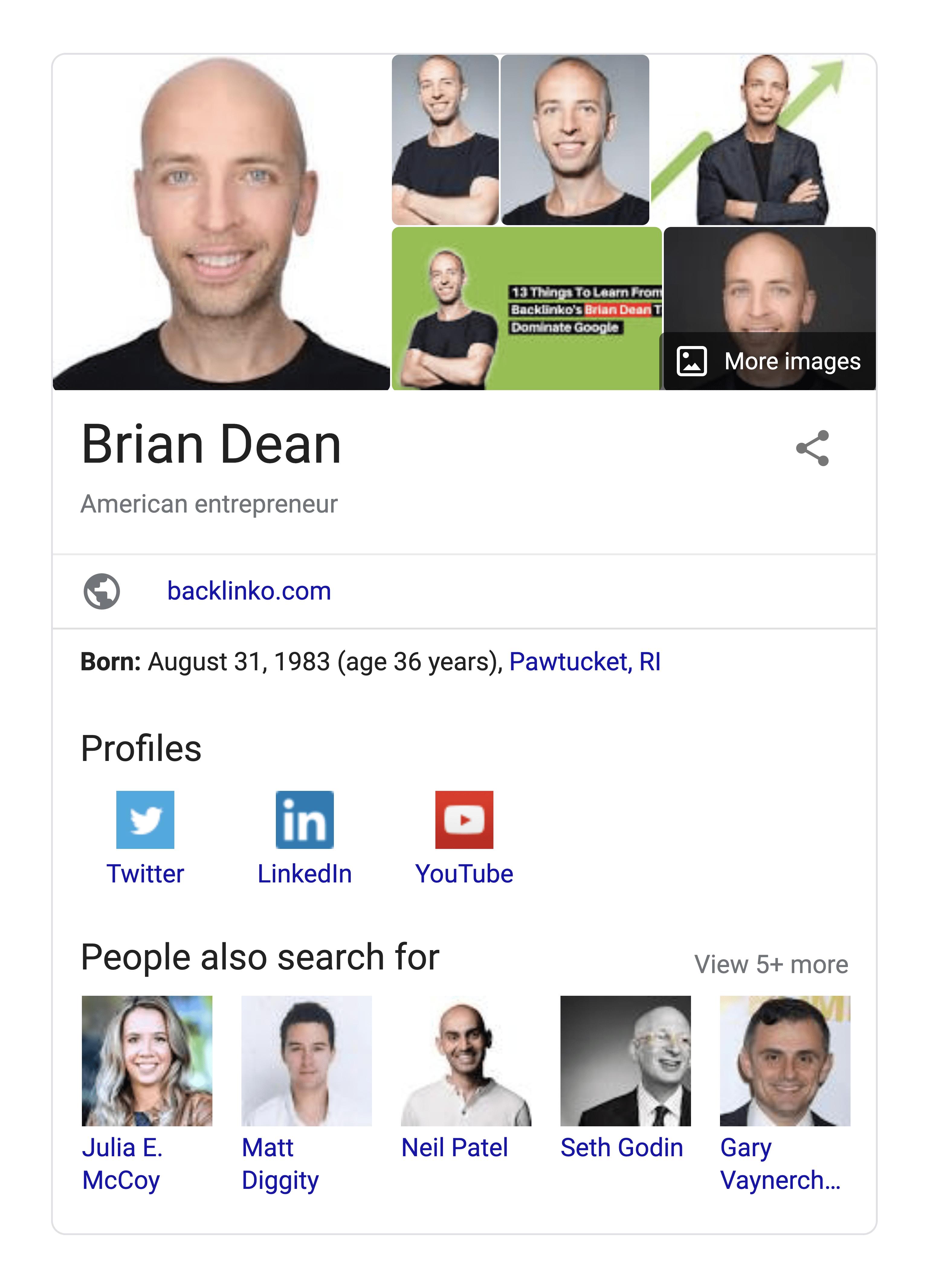 Brian Dean Google Knowledge Card