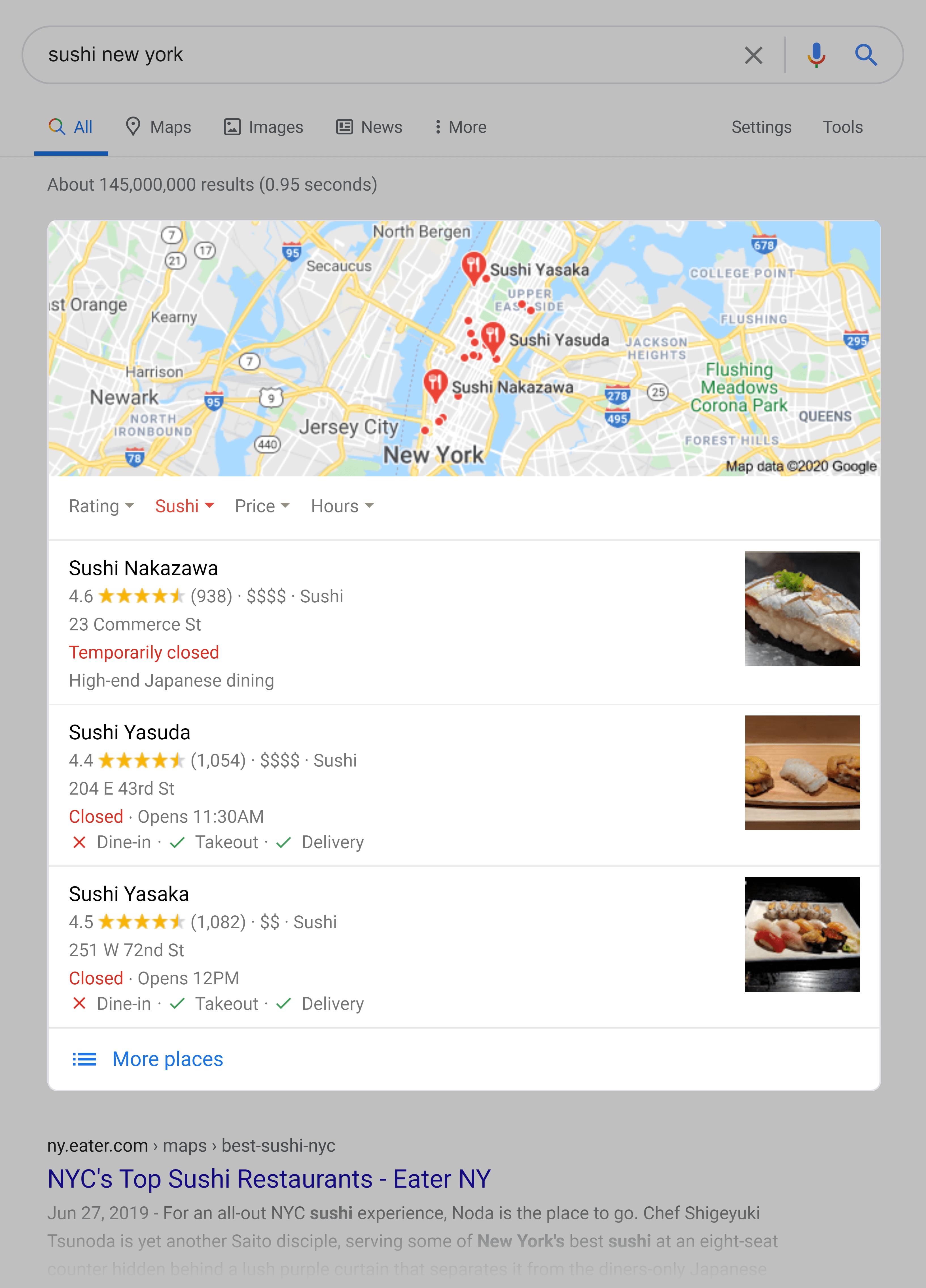 Google SERP – Local map pack