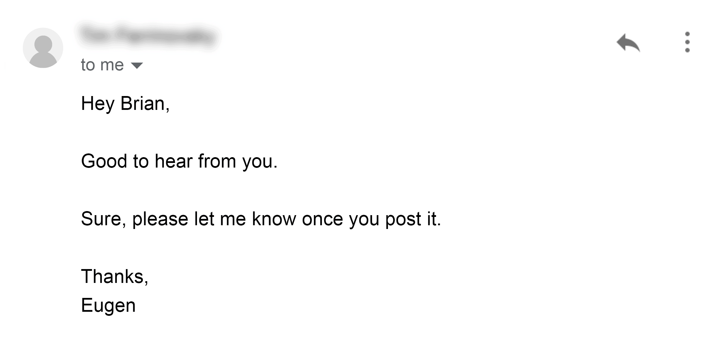 Heads Up Email Well Received