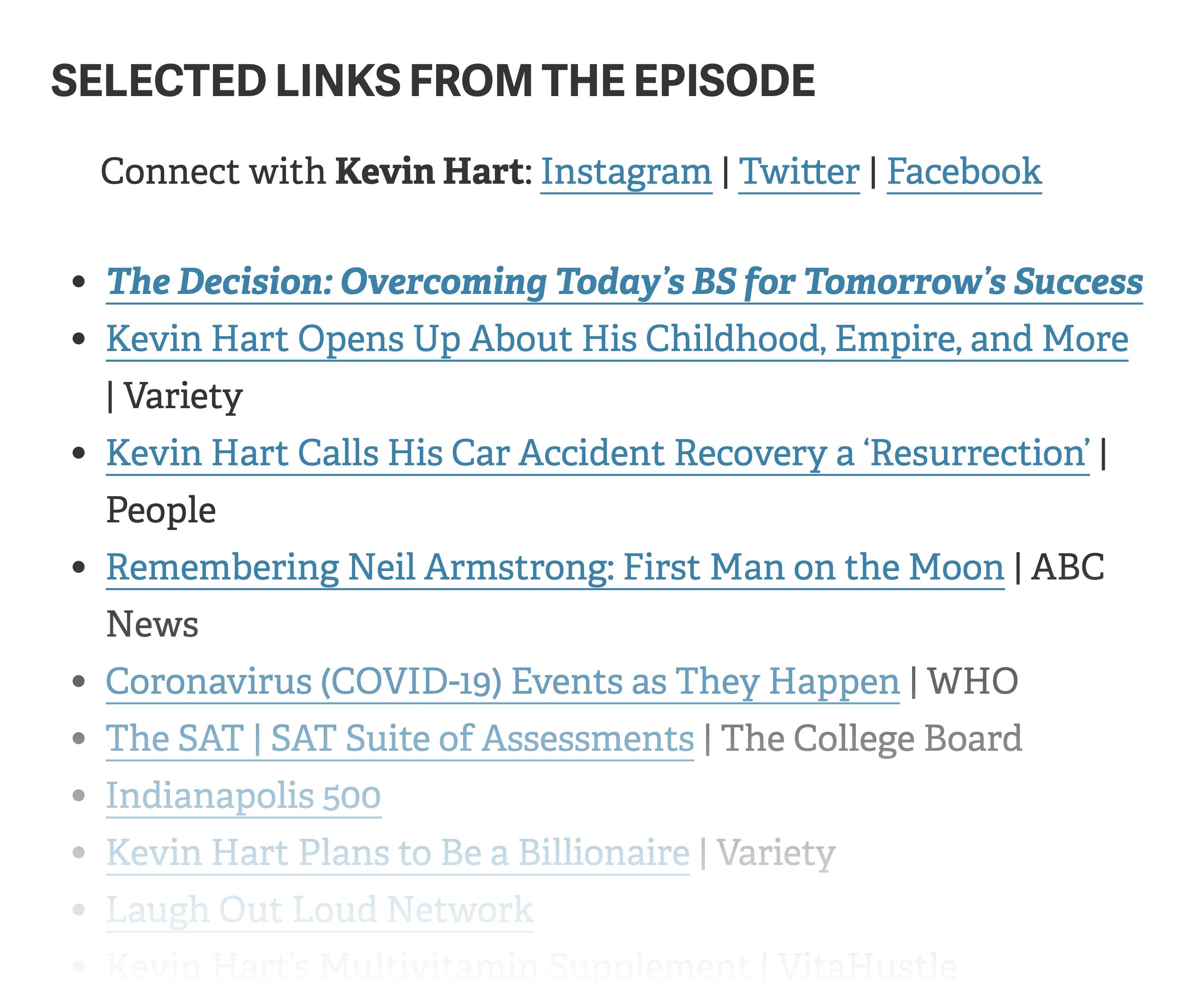 Podcast Episode Link List