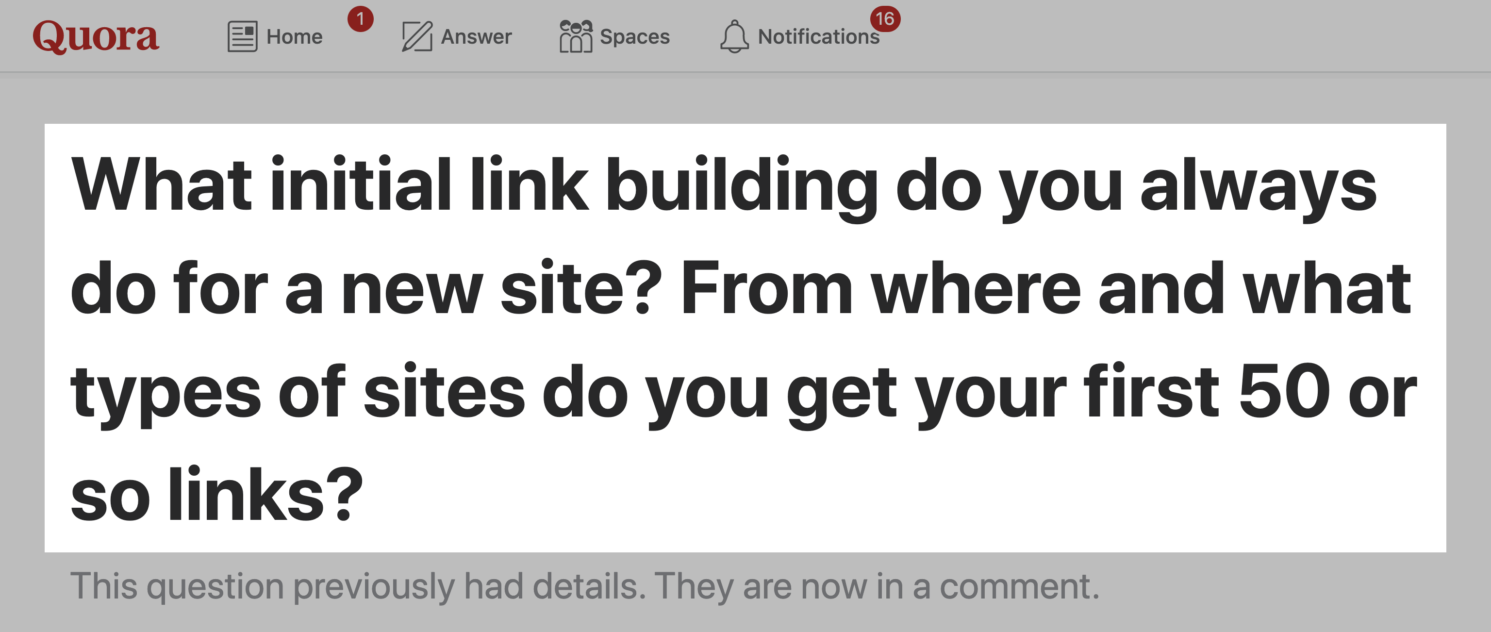 Quora – Initial Link Building Question
